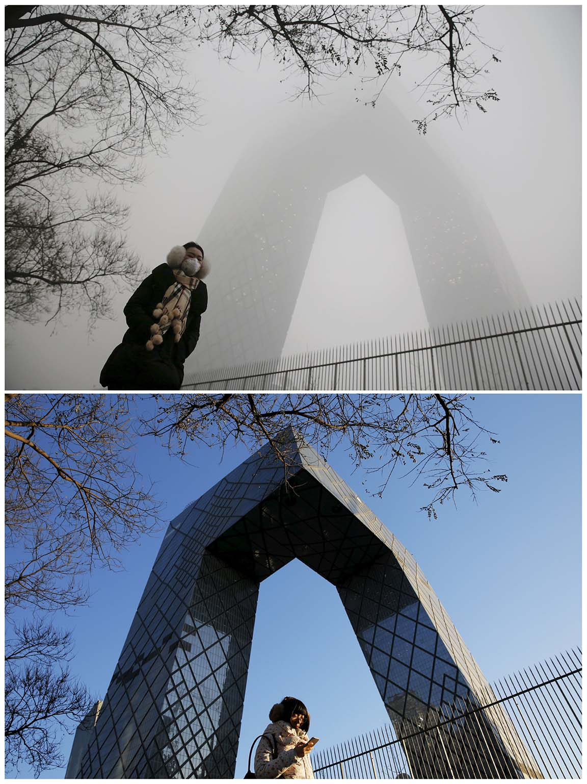 A combo shows a morning commuter walking in front of the China Central Television (CCTV) building on a smoggy day and a sunny day