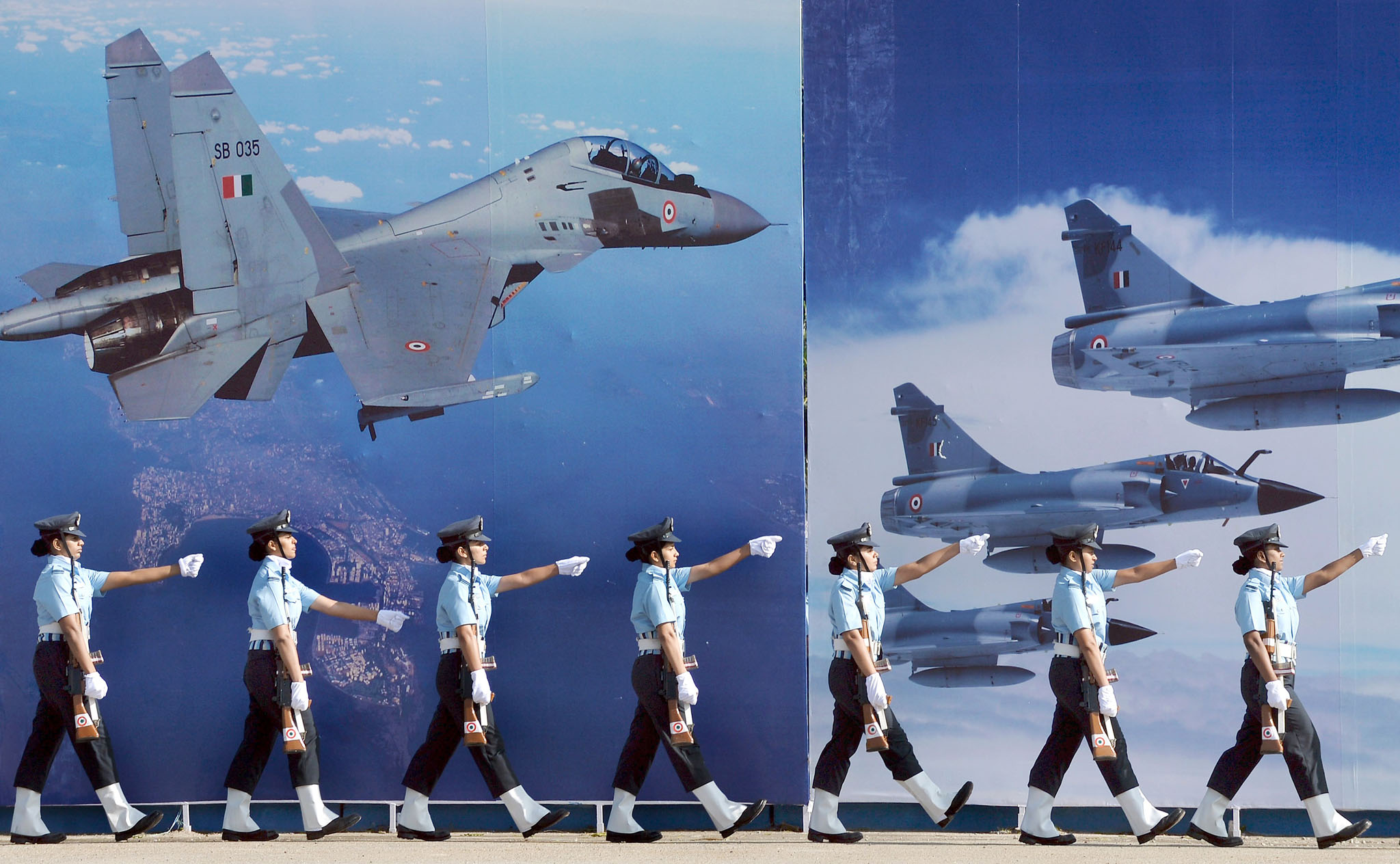 Aeronautical Engineers of the Air Force Technical College (AFTC) of the Indian Air Force take part in a passing out parade in Bangalore on December 4, 2015.   The Parade marks the culmination of 74 weeks of training in Aeronautical Engineering, Military Leadership, Managerial Skills and Ethos of an air warrior. The passing out batch comprised 136 officers, including 37 women and 11 international officers. AFP PHOTO/Manjunath KIRANMANJUNATH KIRAN/AFP/Getty Images