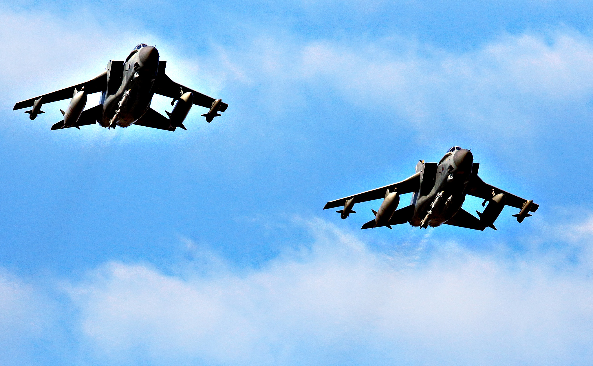 RAF Tornados return to RAF Akrotiri after a sortie on Thursday in Akrotiri, Cyprus. The British Parilament voted 397 to 223 yesterday in favor of joining international airstrikes in Syria.