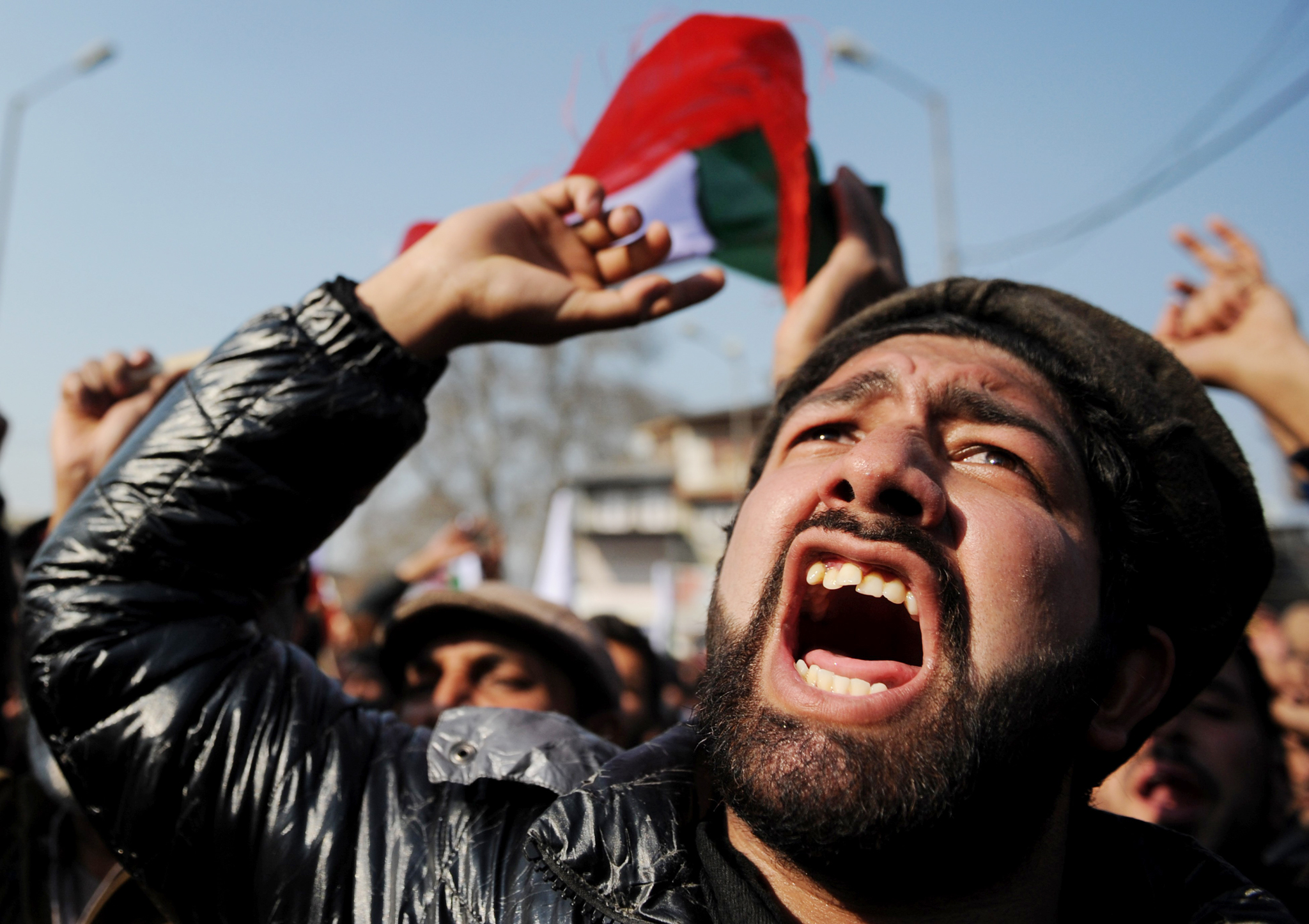 Supporters of the Jammu and Kashmir Libr...Supporters of the Jammu and Kashmir Libration Front (JKLF) shout pro-freedom slogans during a protest in Srinagar on January 21, 2016. Parts of the capital of Indian-administered Kashmir remained shut and rallies were held on January 21 to mark the killing of nearly sixty people by Indian security personnel in Srinagar's Gaw Kadal area on January 21, 1990. The event was followed by a series of similar incidents in and around Srinagar causing widespread anger across the valley and gave impetus to an armed insurgency which had just started in the Muslim-majority Himalayan state. AFP PHOTO / Tauseef MUSTAFATAUSEEF MUSTAFA/AFP/Getty Images