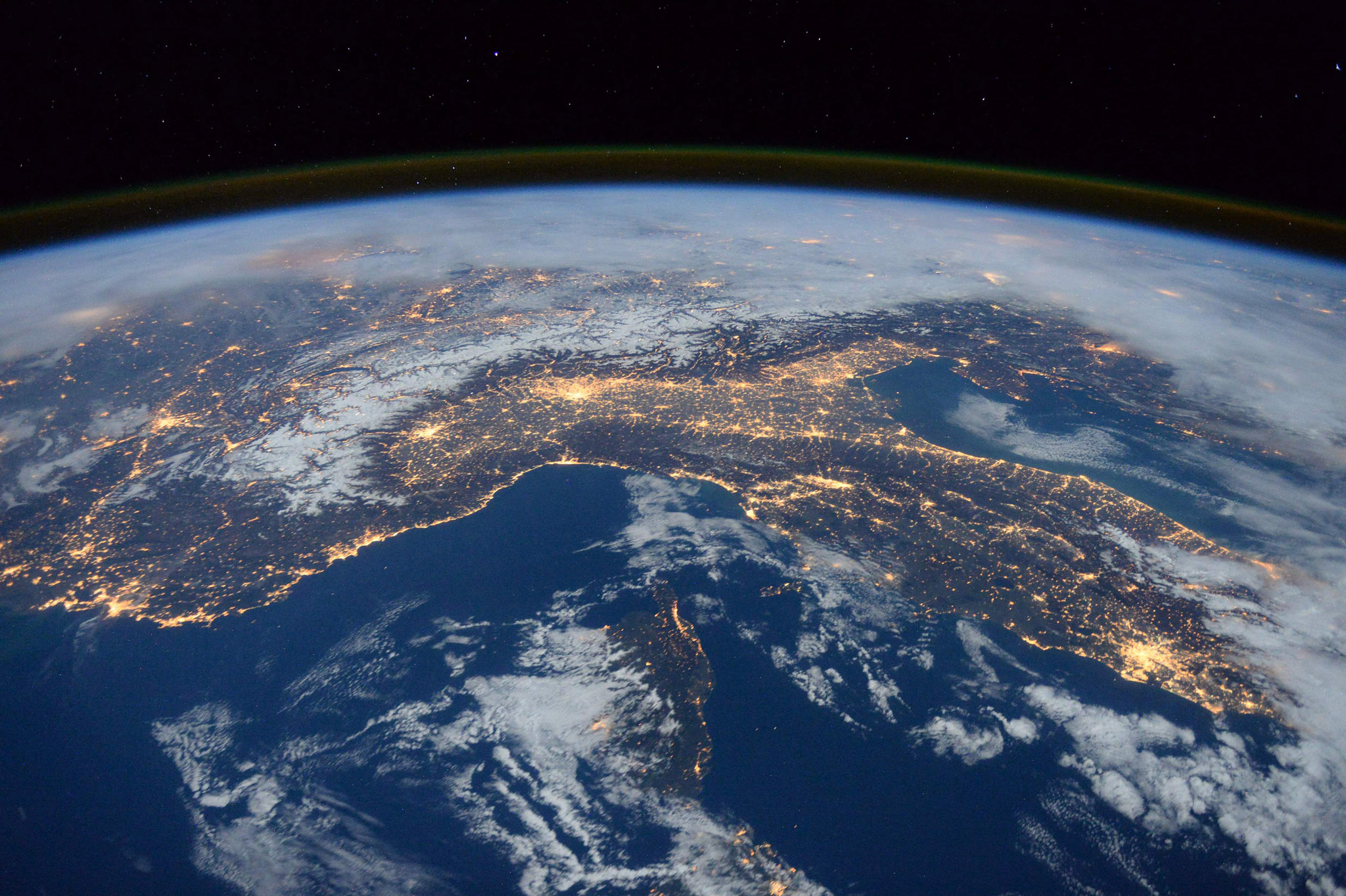 "Expedition 46 flight engineer Tim Peake ...Expedition 46 flight engineer Tim Peake of the European Space Agency (ESA) shared this stunning nighttime photograph with his social media followers on January 25, 2016, writing, ""Beautiful night pass over Italy, Alps and Mediterranean.""  / AFP / esa/nasa / TIM PEAKE / == RESTRICTED TO EDITORIAL USE / MANDATORY CREDIT: ""AFP PHOTO / HANDOUT / ESA/NASA / TIM PEAKE ""/ NO MARKETING / NO ADVERTISING CAMPAIGNS / DISTRIBUTED AS A SERVICE TO CLIENTS == TIM PEAKE/AFP/Getty Images"