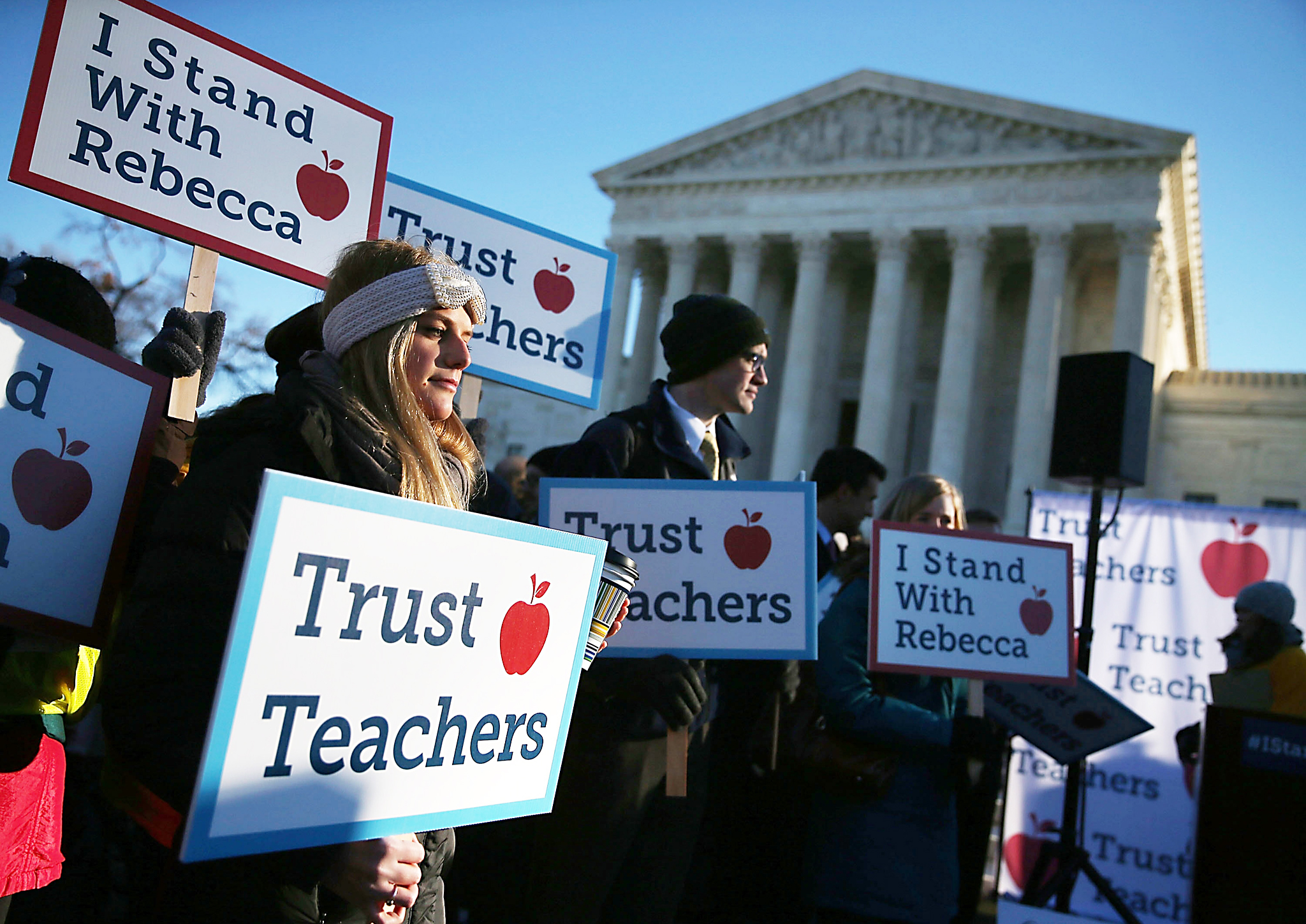 Activists Rally In Front Of U.S. Supreme Court...WASHINGTON, DC - JANUARY 11: People against the California Teachers Union rally in front of the US Supreme Court building January 11, 2016 in Washington, DC. The high court is hearing arguments in the Friedrichs v. California Teachers Association case. The case will decide whether California and twenty two other states can make public-employees, such as public school teacher Rebecca Friedrichs, to pay union agency fees.  (Photo by Mark Wilson/Getty Images)