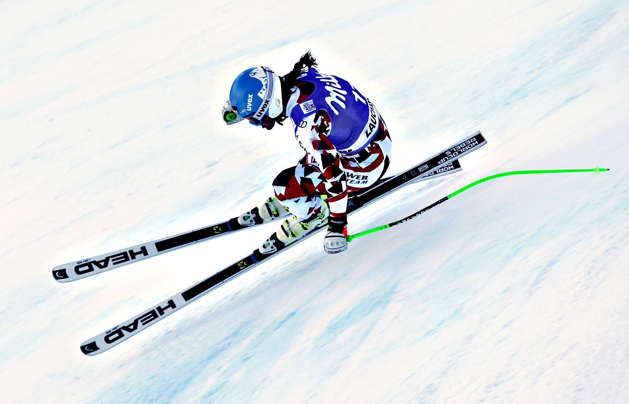 Elisabeth Goergl, of Austria, speeds down the course during a training for an alpine ski, women's World Cup downhill in Altenmarkt Zauchensee, Austria, Friday, Jan 8, 2016.
