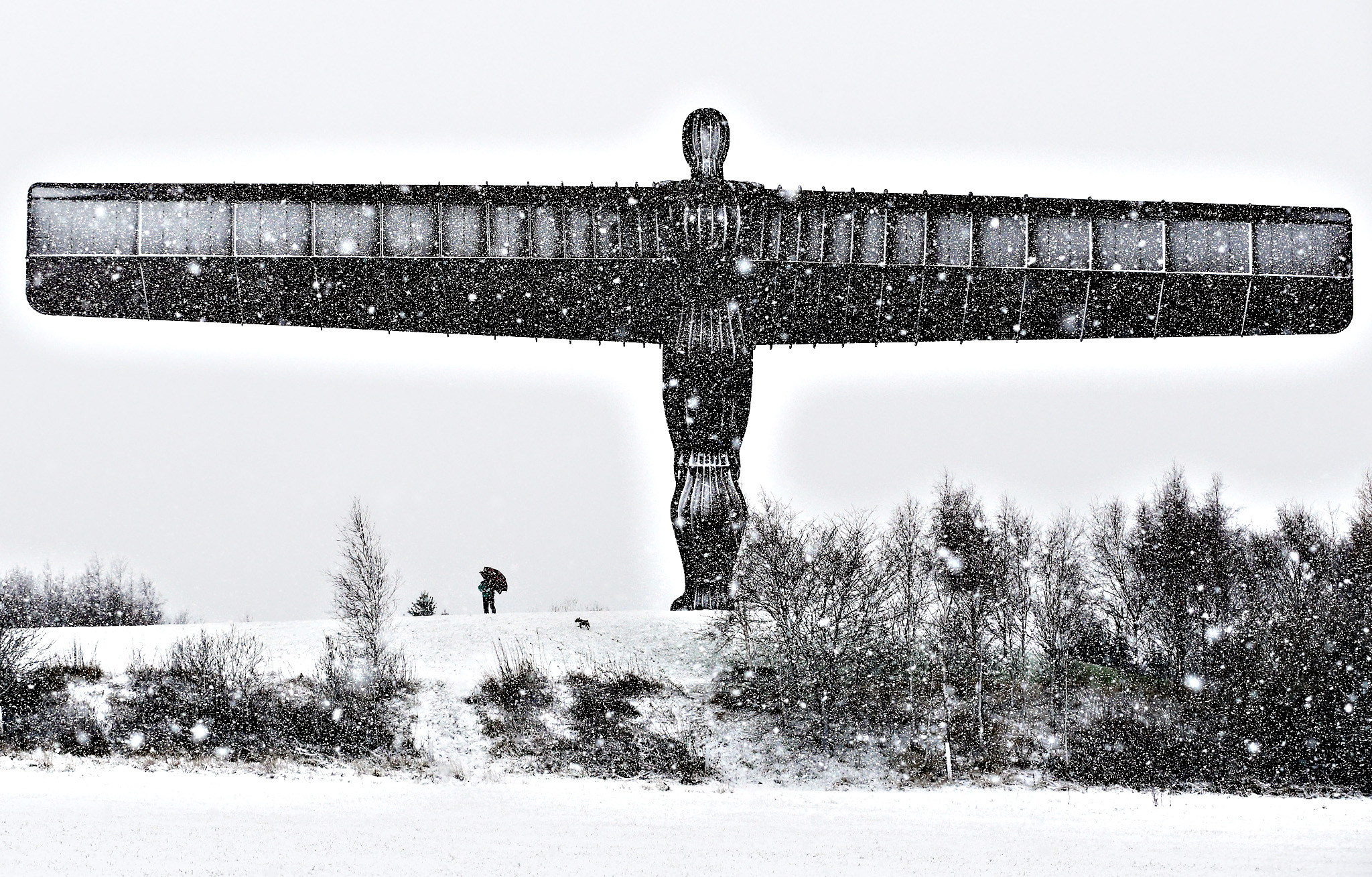A man walks his dog through the snow under the Angel of the North in Gateshead, Tyne and Wear, as the UK braced for a new wave of bad weather after forecasters issued warnings of heavy snow in parts of England and Scotland. PRESS ASSOCIATION Photo. Picture date: Thursday January 14, 2016. The cold snap is in sharp contrast to last month, which was both the wettest and warmest December on record, when temperatures averaged 7.9C (46.2F).