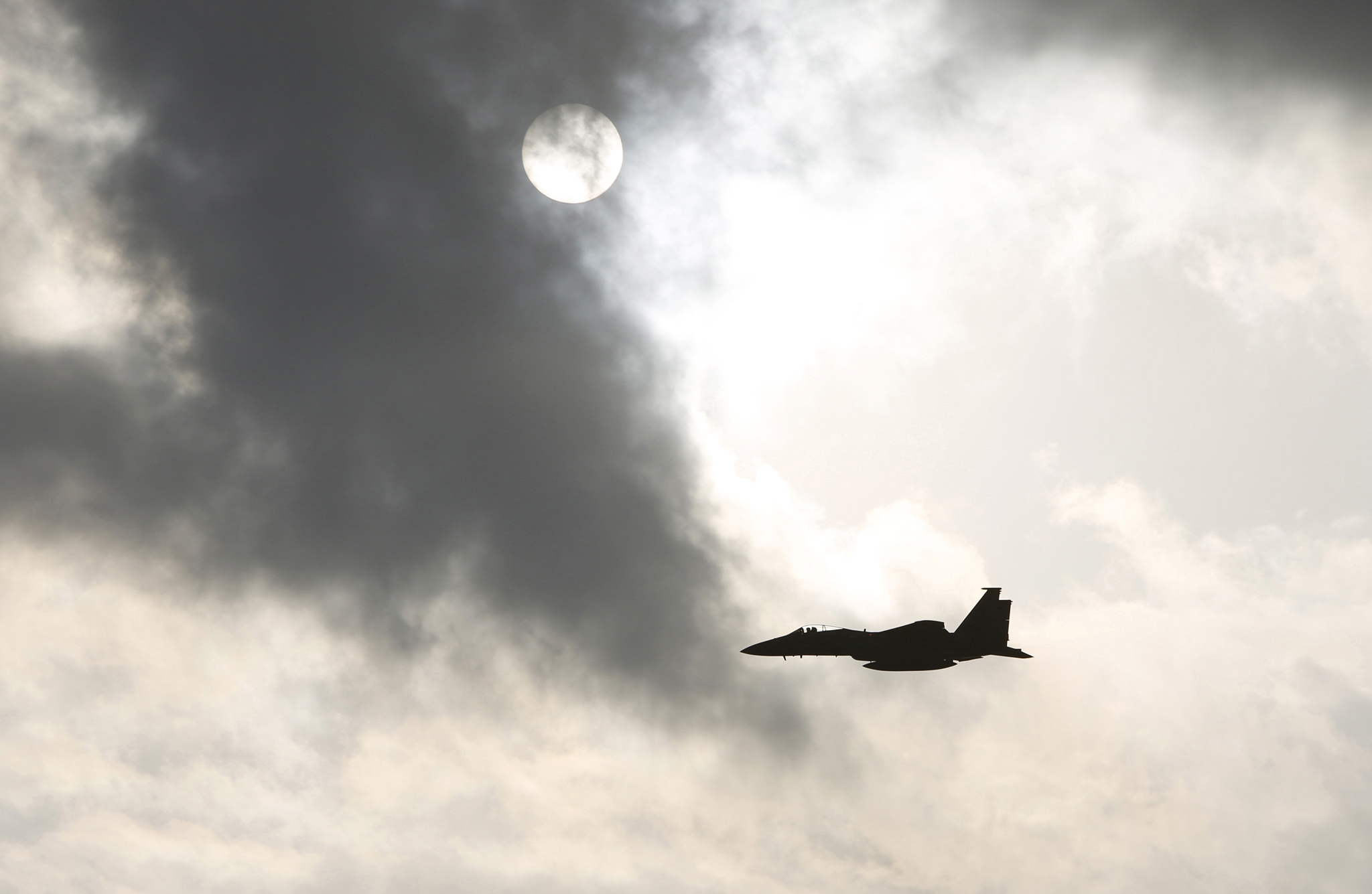 A U.S. Air Force F15 fighter jet takes off from Kadena Air Base in Okinawa, southwestern Japan