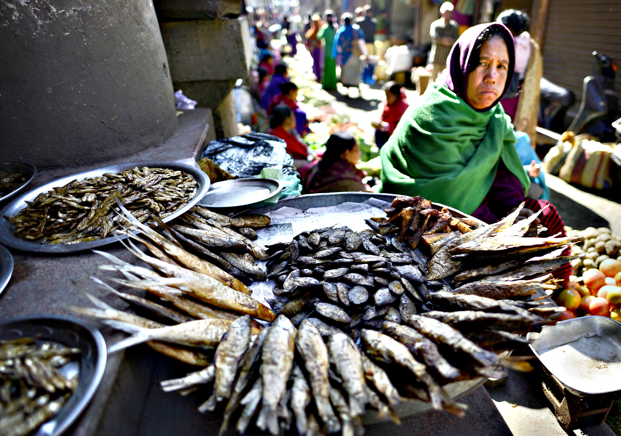A Manipuri woman sells smoked and dry fish in Ima market - the world's largest all women market - in Imphal city, Manipur state, 06 January 2016. The 150-year-old Ima Keithel or 'Mothers's market' complex, which is run exclusively by women and was damaged in the 04 January 2016 earthquake, is returning back to normal. Nine deaths have been reported from in and around Imphal due to falling debris. Imphal has a population of some 270,000 and people were jolted from their sleep and ran out of their homes in panic when the earth shook 04 January, reports say.