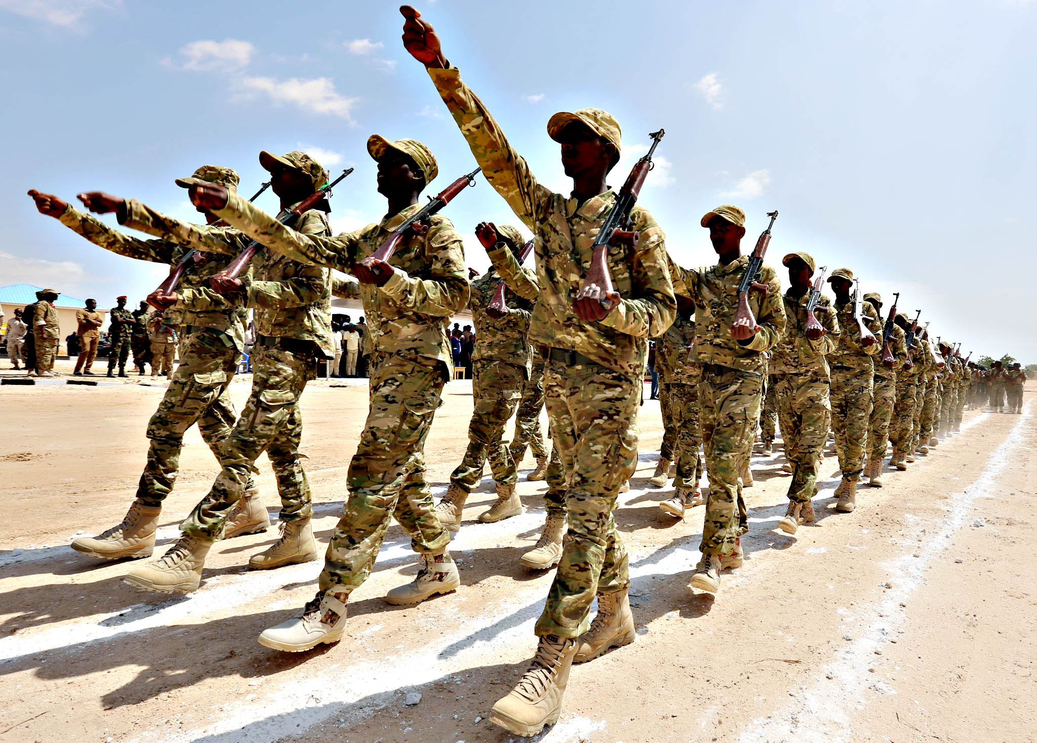 Members of the Somali military parade after attending a commando training exercise at the United Arab Emirates military training camp in Mogadishu...Members of the Somali military parade after attending a commando training exercise at the United Arab Emirates military training camp in the capital Mogadishu, Somalia January 20, 2016.