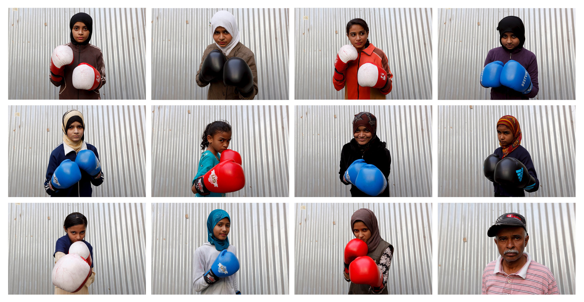 "Spotlight: Boxing for girls in Karachi...A combination photo shows students of coach Younus Qambrani posing with their boxing gloves at the first women's boxing coaching camp in Pak Shaheen Boxing Club in Karachi, Pakistan, February 20, 2016. For the past six months about a dozen girls, aged 8 to 17, have gone to the Pak Shine Boxing Club after school to practice their jabs, hooks and upper cuts. Pakistani women have been training as boxers in small numbers and competed in the South Asian Games last year, said Younis Qambrani, the coach who founded the club in 1992 in the Karachi neighbourhood of Lyari, better known for internecine gang warfare than for breaking glass ceilings.  REUTERS/Akhtar Soomro SEARCH ""THE WIDER IMAGE"" FOR ALL STORIES"
