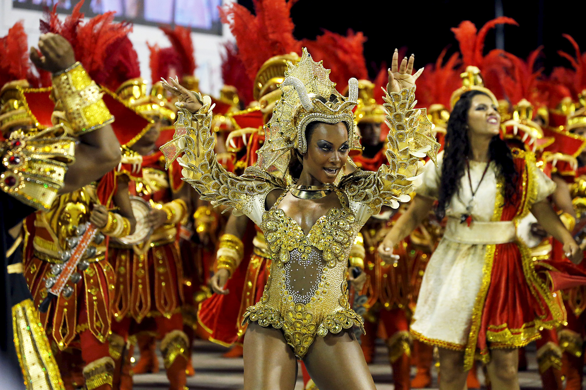 "Estacio de Sa samba schooll's Drum Queen Luana Bandeira performs during the carnival parade at the Sambadrome in Rio de Janeiro's Sambadrome...REFILE - CORRECTING TYPO IN ""CARNIVAL""Estacio de Sa samba schooll's Drum Queen Luana Bandeira performs during the carnival parade at the Sambadrome in Rio de Janeiro's Sambadrome February 7, 2016.   REUTERS/Sergio Moraes"