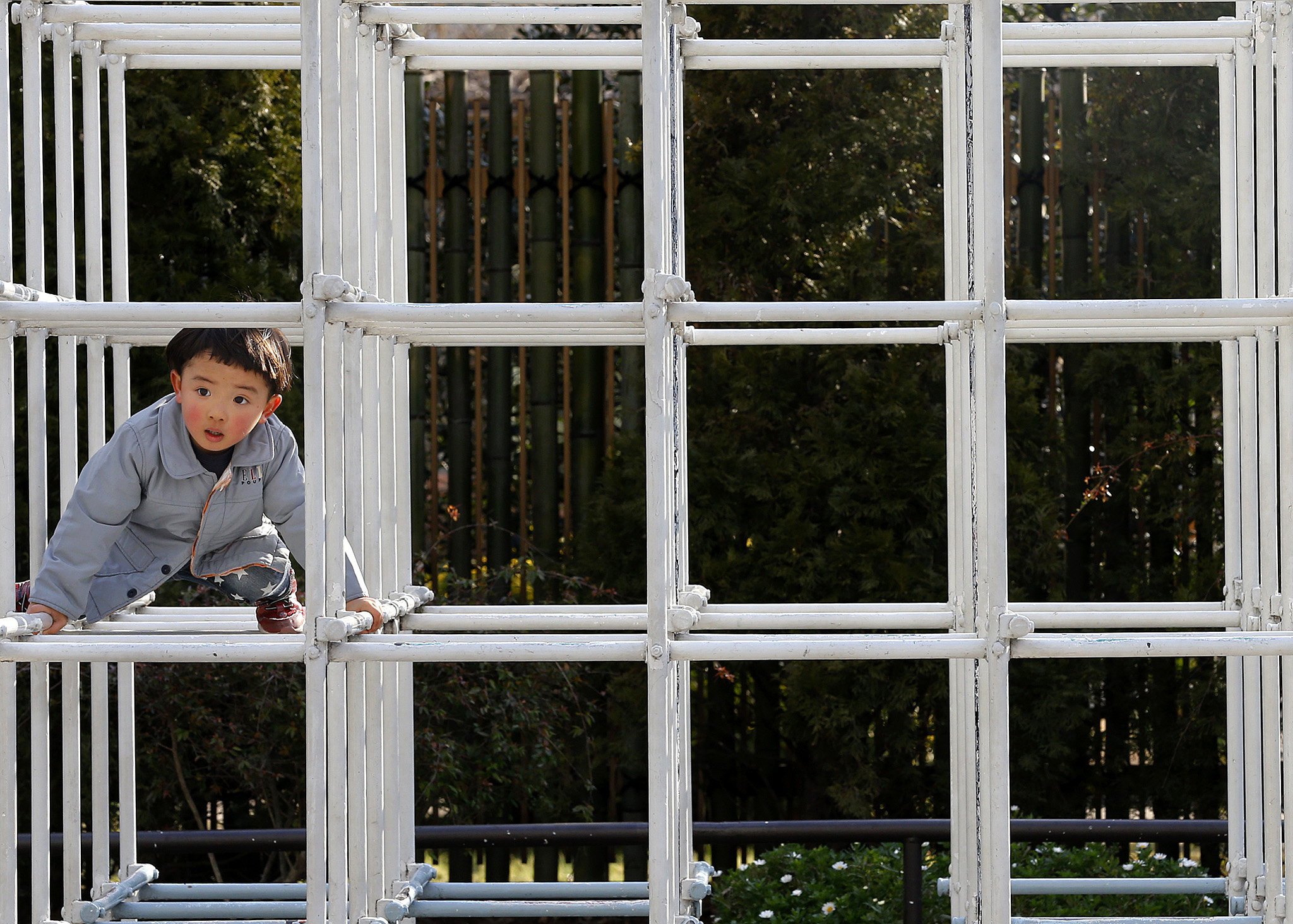 A boy plays on a jungle gym at Shiba park in Tokyo, Tuesday, Feb. 9, 2016. (AP Photo/Shizuo Kambayashi)