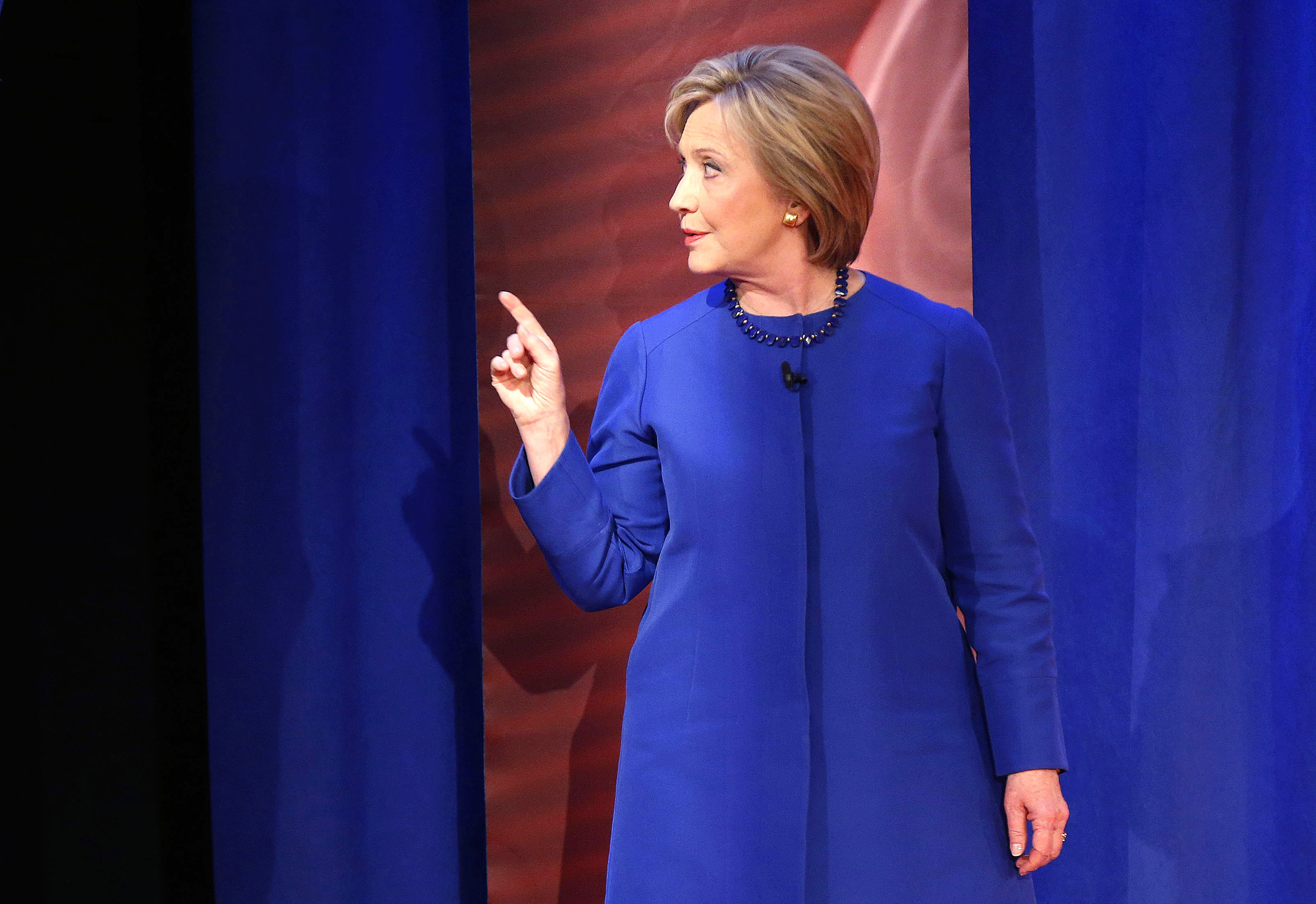 Hillary Clinton...Democratic presidential candidate Hillary Clinton gestures during a commercial break at a CNN town hall style televised event at the University of South Carolina School of Law, in Columbia, S.C., Tuesday, Feb. 23, 2016. (AP Photo/Gerald Herbert)