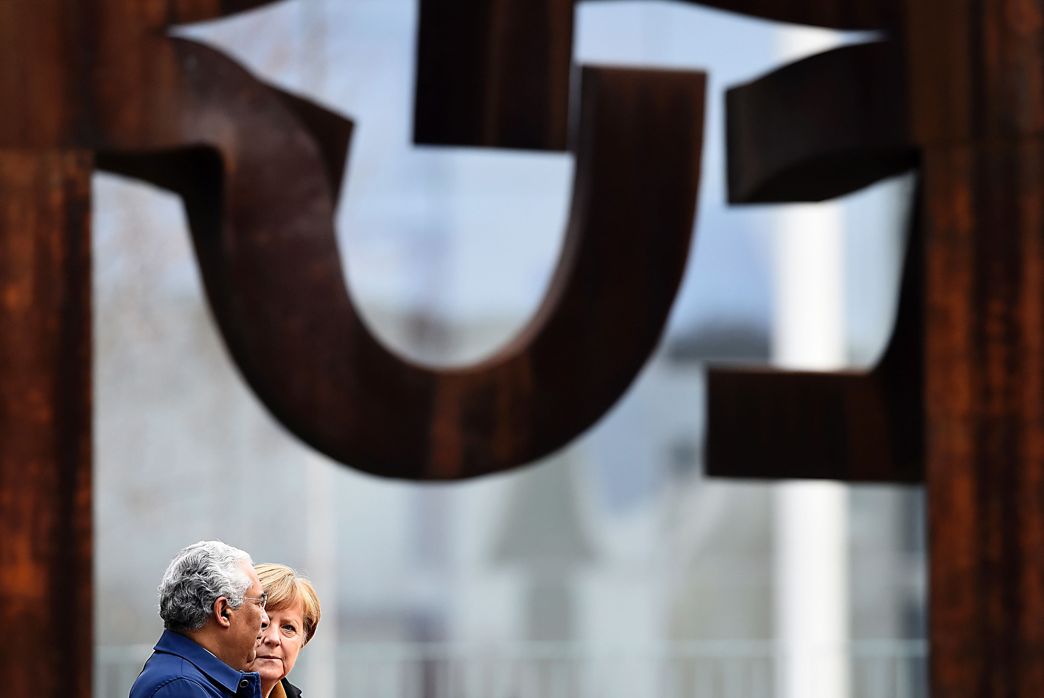 German Chancellor Angela Merkel (R)and P...German Chancellor Angela Merkel (R)and Portuguese Prime Minister Antonio Costa (L) inspect a guard of honour prior to talks at the Chancellery in Berlin on February