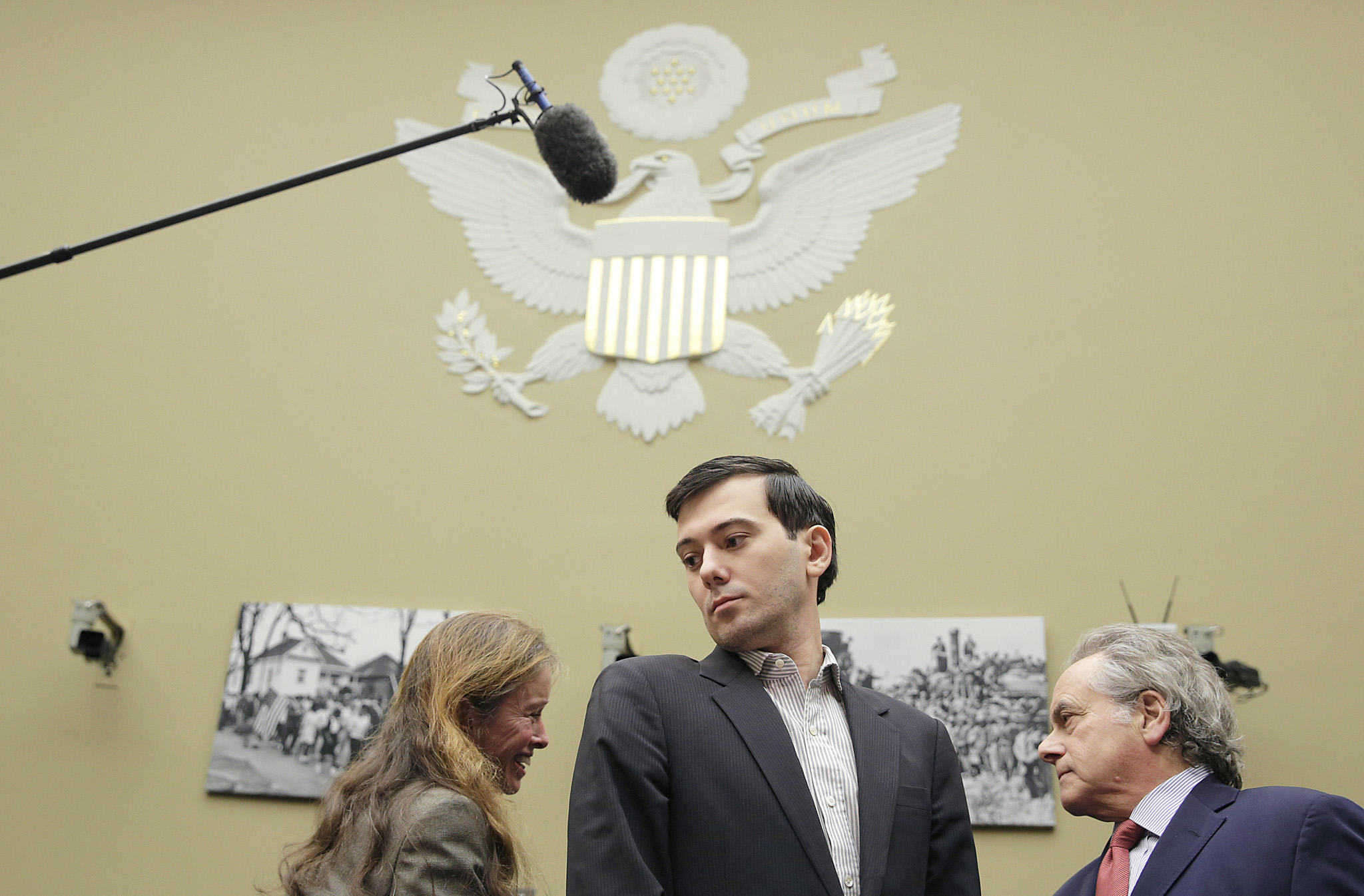 "Martin Shkreli, former CEO of Turing Pharmaceuticals LLC, arrives before a House Oversight and Government Reform hearing on ""Developments in the Prescription Drug Market Oversight"" on Capitol Hill in Washington...Martin Shkreli, (C) former CEO of Turing Pharmaceuticals LLC, arrives before a House Oversight and Government Reform hearing on ""Developments in the Prescription Drug Market Oversight"" on Capitol Hill in Washington February 4, 2016. REUTERS/Joshua Roberts      TPX IMAGES OF THE DAY"