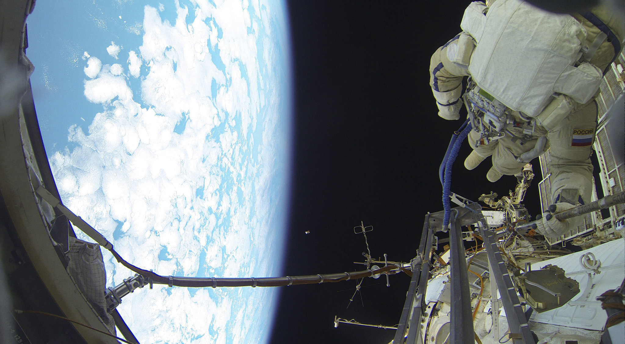 International Space Station crew member Volkov performs spacewalk outside ISS...International Space Station (ISS) expedition 46/47 crew member, Russian cosmonaut Sergei Volkov performs a spacewalk outside the ISS in this Roscosmos image released on February 7, 2016. REUTERS/Roscosmos/Handout via Reuters ATTENTION EDITORS - THIS PICTURE WAS PROVIDED BY A THIRD PARTY. REUTERS IS UNABLE TO INDEPENDENTLY VERIFY THE AUTHENTICITY, CONTENT, LOCATION OR DATE OF THIS IMAGE. FOR EDITORIAL USE ONLY. NOT FOR SALE FOR MARKETING OR ADVERTISING CAMPAIGNS. FOR EDITORIAL USE ONLY. NO RESALES. NO ARCHIVE. THIS PICTURE IS DISTRIBUTED EXACTLY AS RECEIVED BY REUTERS, AS A SERVICE TO CLIENTS.