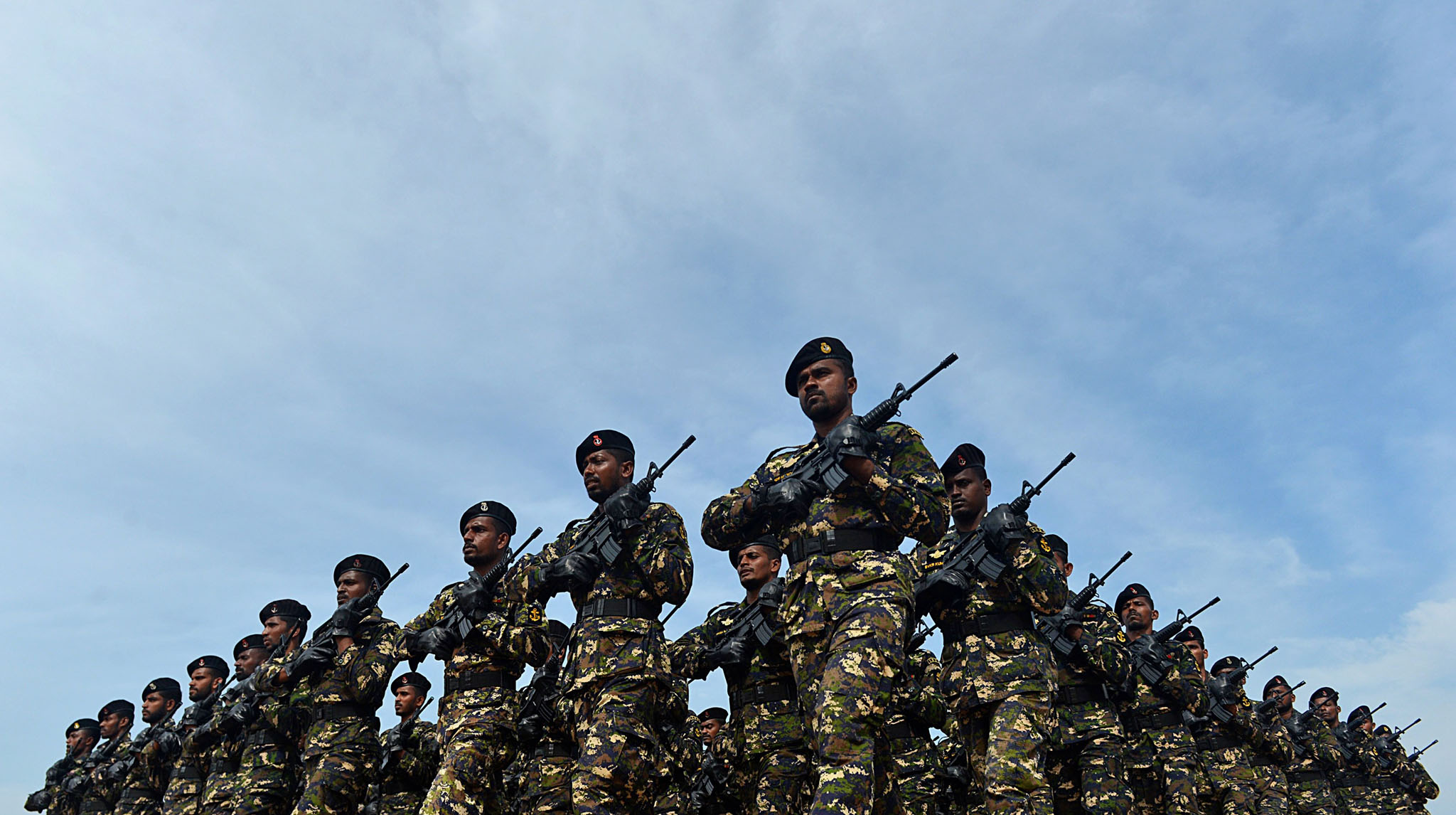 Sri Lankan military personnel march duri...Sri Lankan military personnel march during an Independence Day parade rehearsal in Colombo on February 2, 2016. Sri Lanka is preparing to mark the 68th anniversary of independence from Britain on February 4.  AFP PHOTO/ Ishara S. KODIKARAIshara S.KODIKARA/AFP/Getty Images