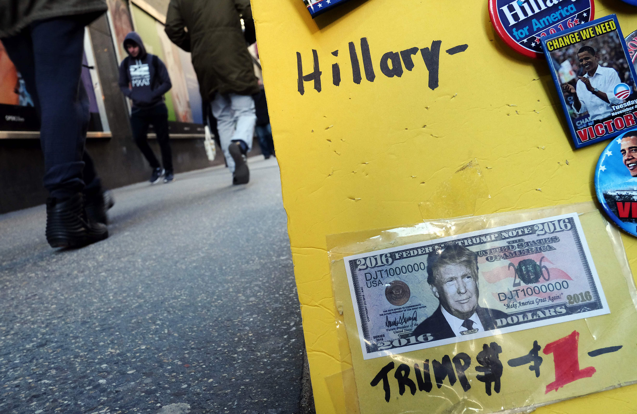 A fake dollar bill with US Republican pr...A fake dollar bill with US Republican presidential candidate Donald Trump's picture on it is displayed for sale with other electoral items at a roadside stall as pedestrians walk past in New York on February 26, 2016. White House hopefuls Ted Cruz and Marco Rubio unleashed a barrage of attacks against Donald Trump during raucous Republican debate on February 25, as they sought to halt the billionaire frontrunner's seemingly relentless march to the party's nomination. / AFP / Jewel SamadJEWEL SAMAD/AFP/Getty Images