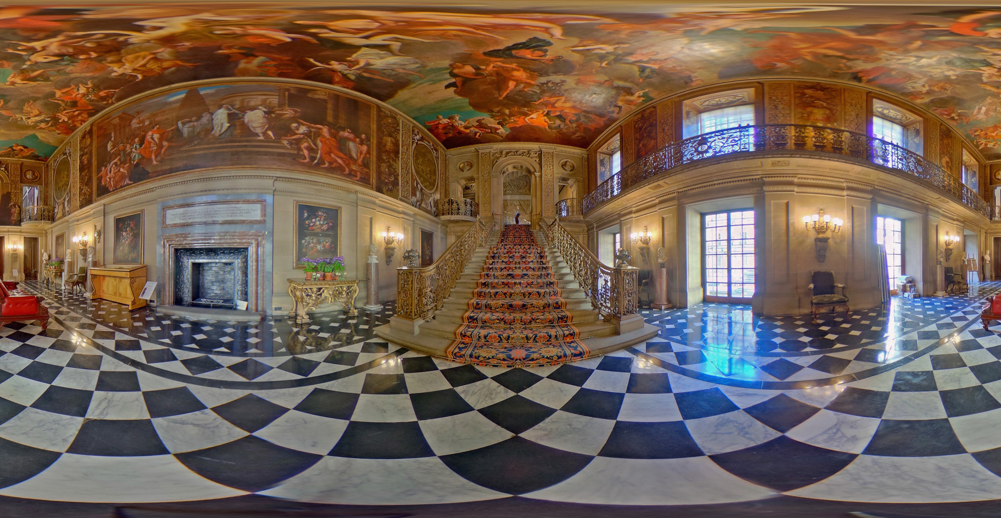 Chatsworth House Season Opening 2016...CHATSWORTH, ENGLAND - MARCH 16:  (EDITOR'S NOTE: Image was created as an Equirectangular Panorama. Import image into a panoramic player to create an interactive 360 degree view.) A 360 view of the Painted Hall at Chatsworth House on March 16, 2016 in Chatsworth, England. Chatsworth House, Garden and Farmyard opens on 19 March 2016 for the new season which includes an exhibition of the glittering social circle of Deborah, Duchess of Devonshire through the photos of Cecil Beaton, Dan Pearsons award winning Chelsea Flower Show garden and the celebration of the Grand Tour through the eyes and collection of the Devonshire Family.  (Photo by Christopher Furlong/Getty Images)