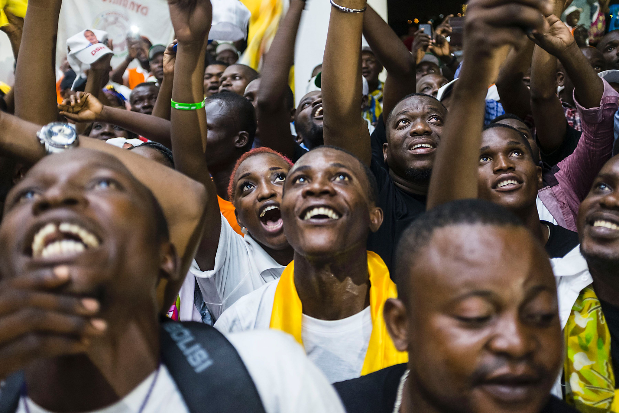 Supporters of newly re-elected...TOPSHOT - Supporters of newly re-elected Congo President Denis Sassou Nguesso celebrate his victory in Brazzaville on March 24, 2016 after the Independent Electoral Commission declared him the winner. Nguesso extended his 32 years in power winning elections in the first round with 60 percent of the vote, the interior minister said on March 24. / AFP PHOTO / Eduardo SoterasEDUARDO SOTERAS/AFP/Getty Images