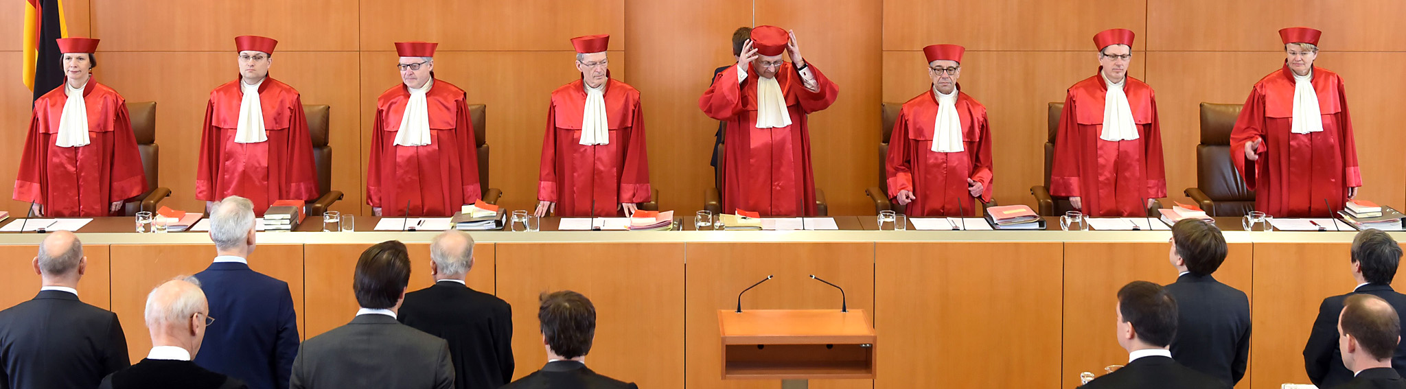 Judges of the first senate of the Federa...Judges of the first senate of the Federal Constitutional Court in Karlsruhe, southwestern Germany, arrive to open a hearing on the German nuclear phase-out on March 15, 2016 (L-R) Gabriele Britz, Andreas Paulus, Wilhelm Schluckebier, Michael Eichberger, Ferdinand Kirchhof (chairman), Reinhard Gaier, Johannes Masing and Susanne Baer. Three energy giants  went to Germany's top court to challenge the decision by Chancellor Angela Merkel's government to phase out nuclear power after the Fukushima disaster five years ago.