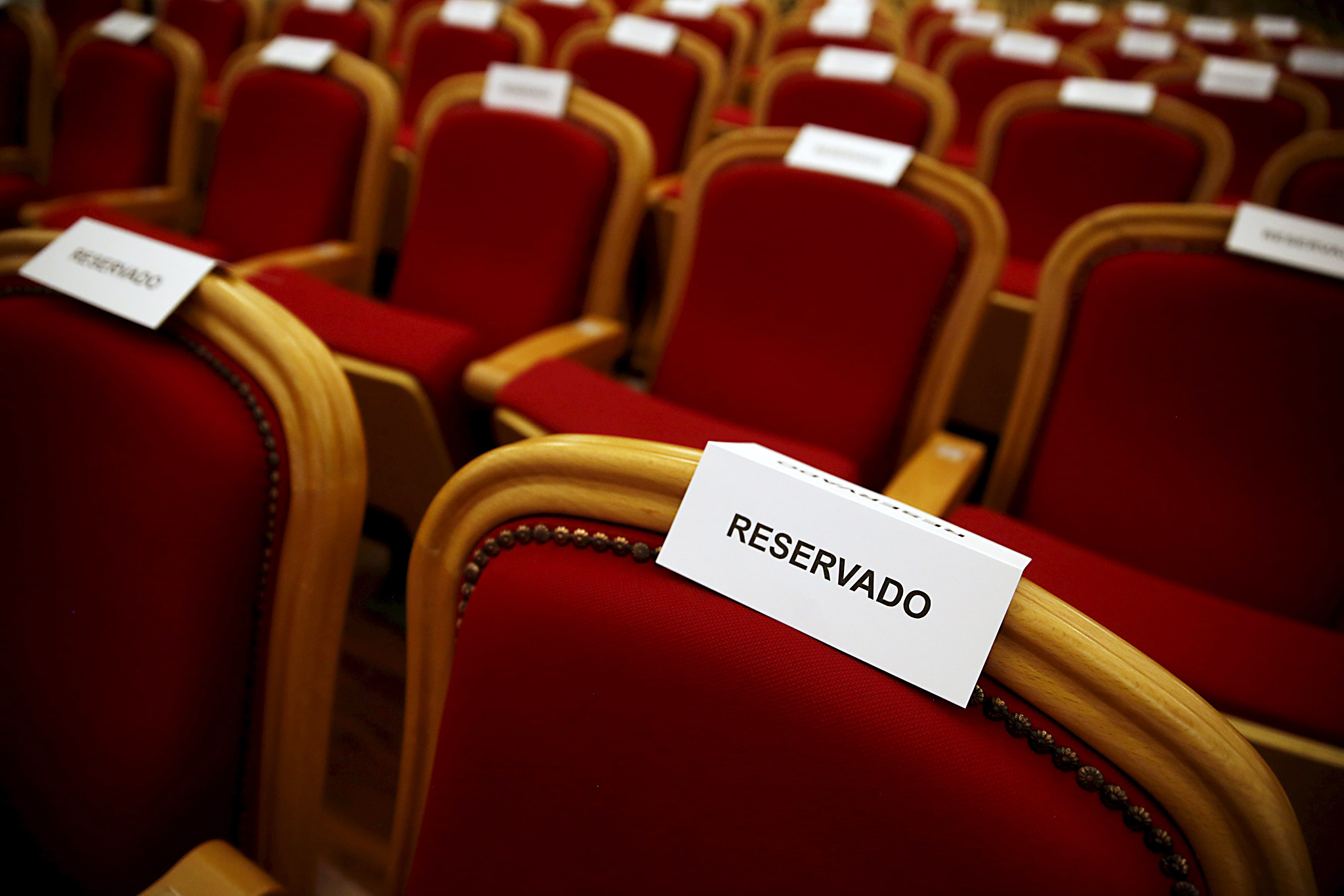 Reserved seating awaits attendees of Obama's address to the Cuban people at the Gran Teatro de la Habana Alicia Alonso in Havana...Reserved seating awaits attendees of U.S. President Barack Obama's address to the Cuban people at the Gran Teatro de la Habana Alicia Alonso in Havana March 22, 2016. REUTERS/Jonathan Ernst