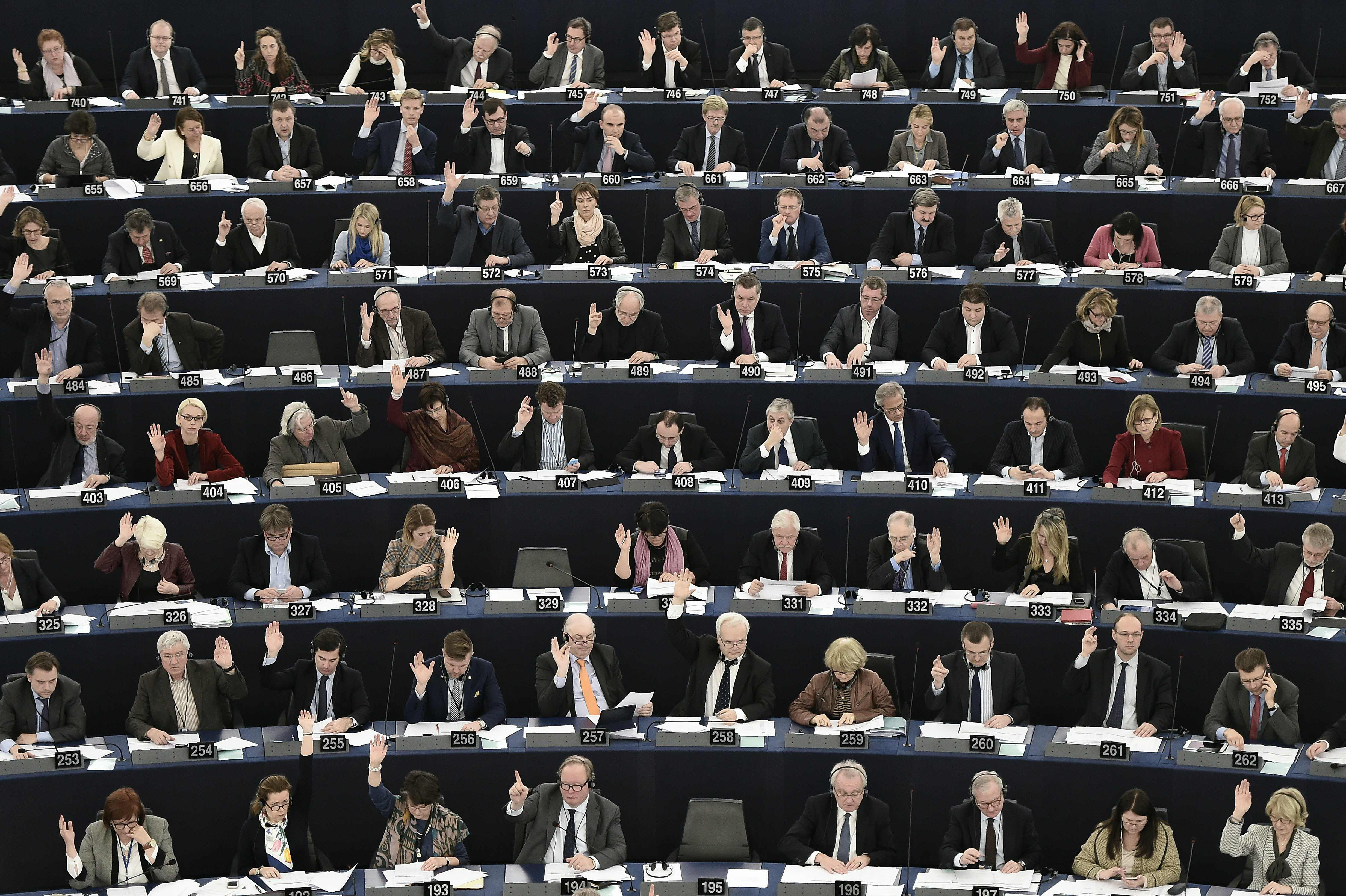 Members of the European Parliament take ...Members of the European Parliament take part in a voting session at the European Parliament in Strasbourg, eastern France, on March 8, 2016.  / AFP / FREDERICK FLORINFREDERICK FLORIN/AFP/Getty Images