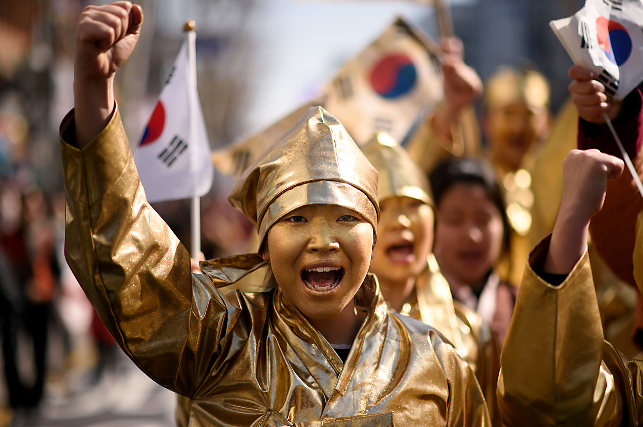 Activists dressed as South Korean dissid...Activists dressed as South Korean dissidents perform during an anti-Japan protest marking the 97th Independence Movement Day in Seoul on March 1, 2016. South Korea was marking the anniversary of the country's 1919 uprising against the 1910-1945 Japanese colonial rule. AFP PHOTO / Ed JonesED JONES/AFP/Getty Images