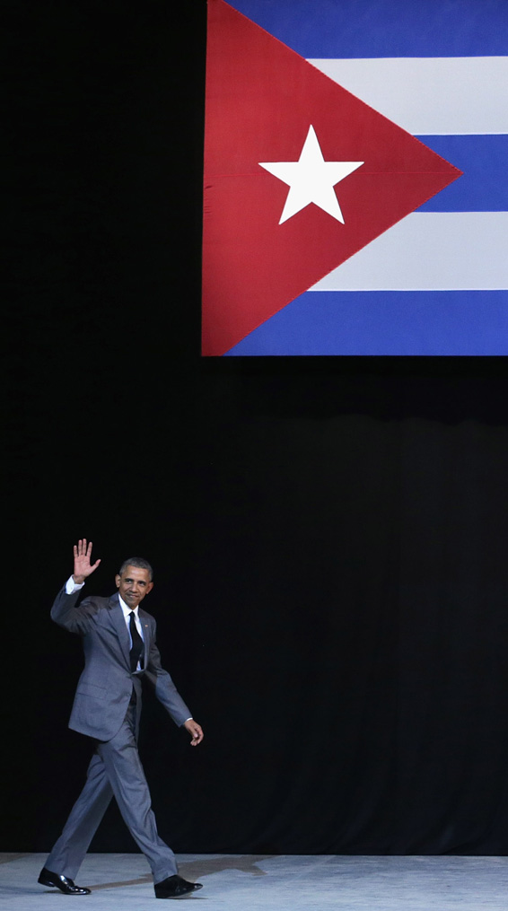 HAVANA, CUBA - MARCH 22:  U.S. President Barack Obama walks onto stage before delivering remarks at the Gran Teatro de la Habana Alicia Alonso in the hisoric Habana Vieja, or Old Havana, neighborhood March 22, 2016 in Havana, Cuba. Described as a message to the Cuban people about his vision for the future of Cuba, Obama's speeh will be nationally televised to the 11 million people on the communist-controlled island.  (Photo by Chip Somodevilla/Getty Images)
