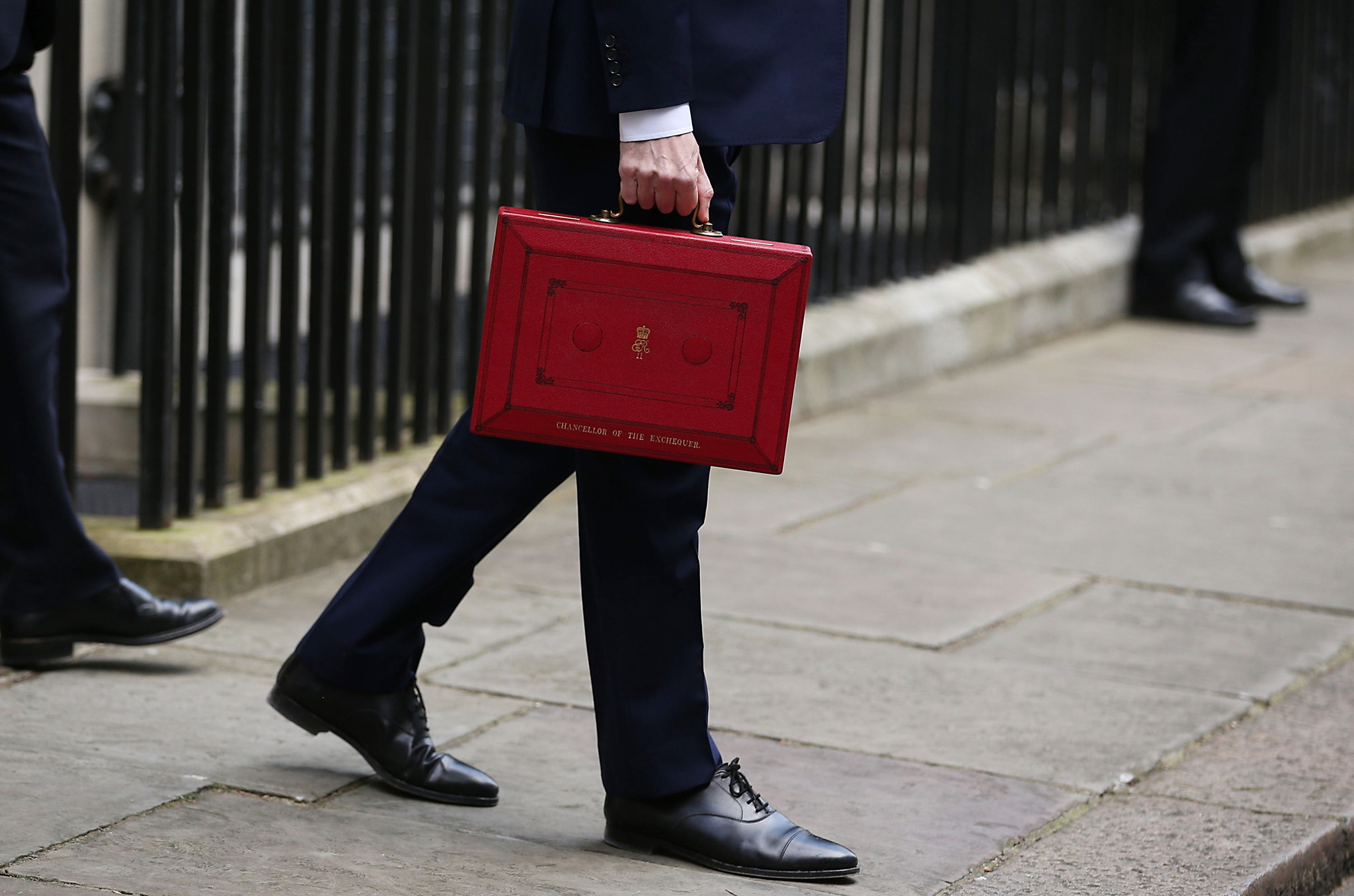 George Osborne Presents The 2016 Budget Statement To The House Of Commons...LONDON, ENGLAND - MARCH 16:  British Chancellor of the Exchequer, George Osborne carries the Budget Box outside 11 Downing Street on March 16, 2016 in London, England. Today's budget will set the expenditure of the public sector for the year beginning on April 1st 2016 against the revenues gathered by HM Treasury.  (Photo by Dan Kitwood/Getty Images)