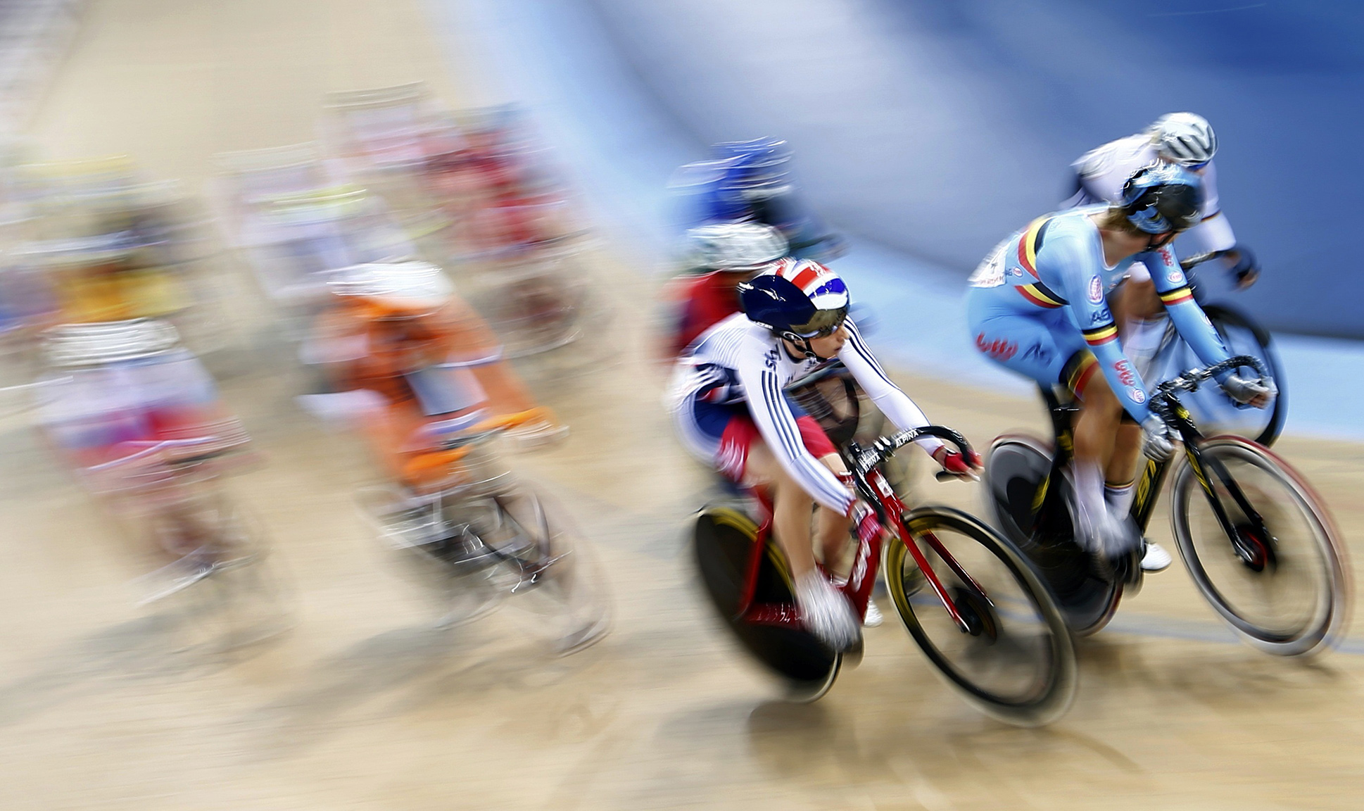 Trott of Great Britain on her way to win gold in  the Women's Scratch Race Final at the UCI Track Cycling World Championships in London