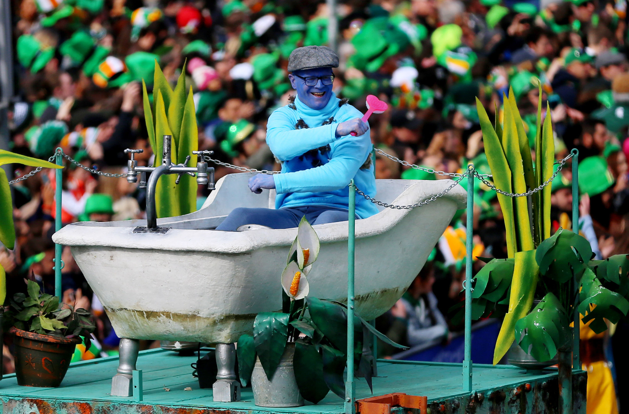 Participants take part in the St Patrick's Day parade on the streets of Dublin.