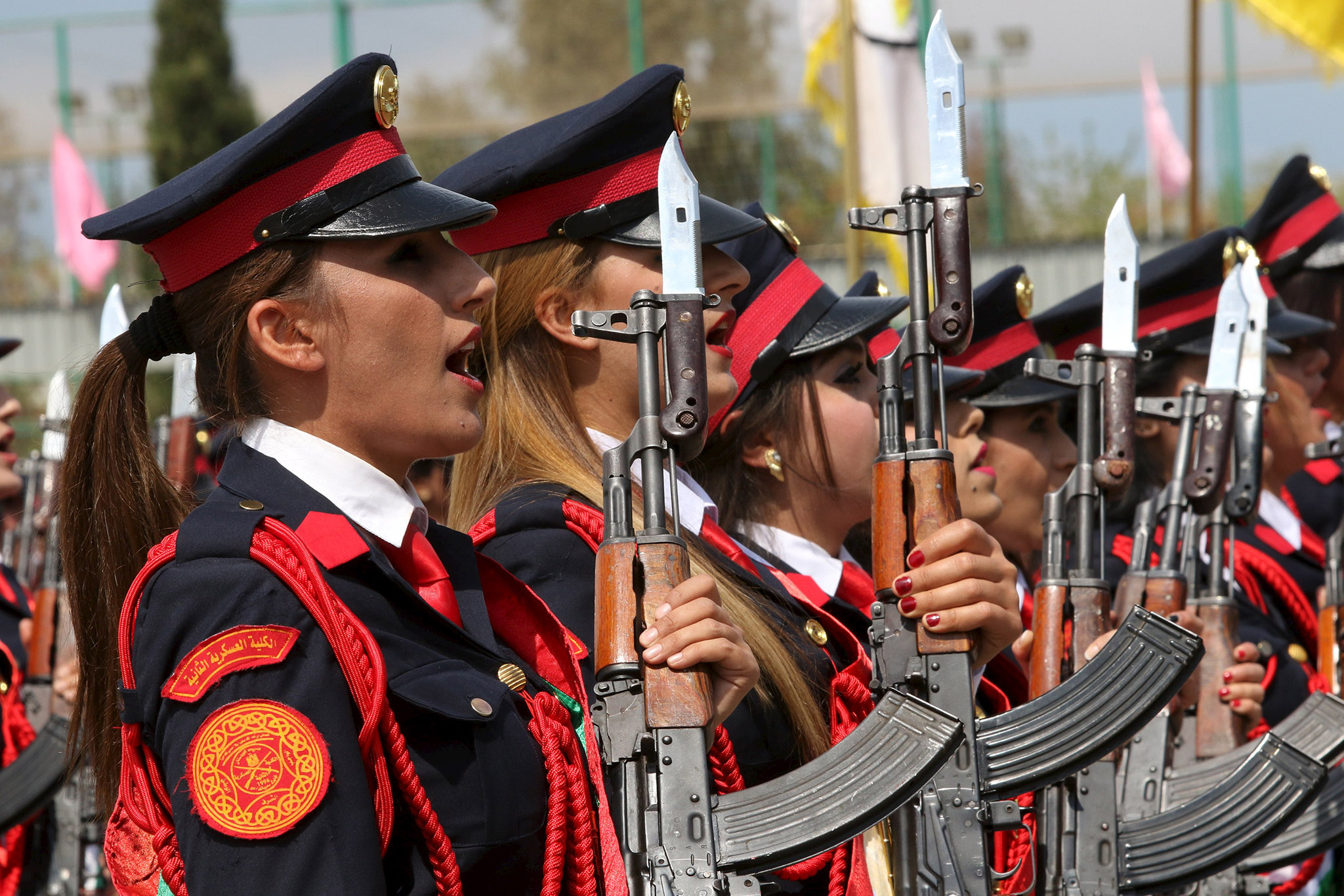 Female Kurdish Peshmerga take part their graduation ceremony at a police academy in Zakho district of the Dohuk Governorate of the Iraqi Kurdistan province, Iraq