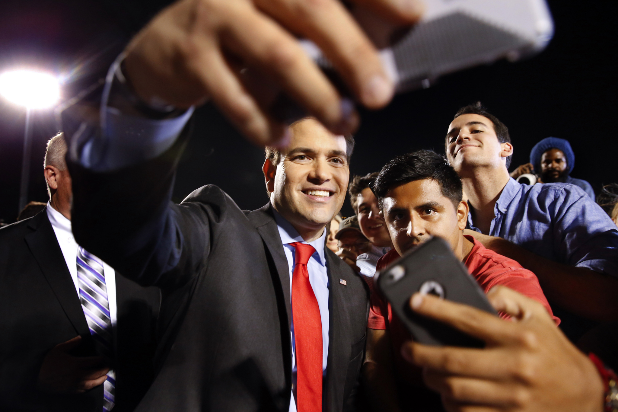 Marco Rubio...Republican presidential candidate, Sen. Marco Rubio, R-Fla., poses for photographs during a campaign rally in Hialeah, Fla., Wednesday, March 9, 2016. (AP Photo/Paul Sancya)