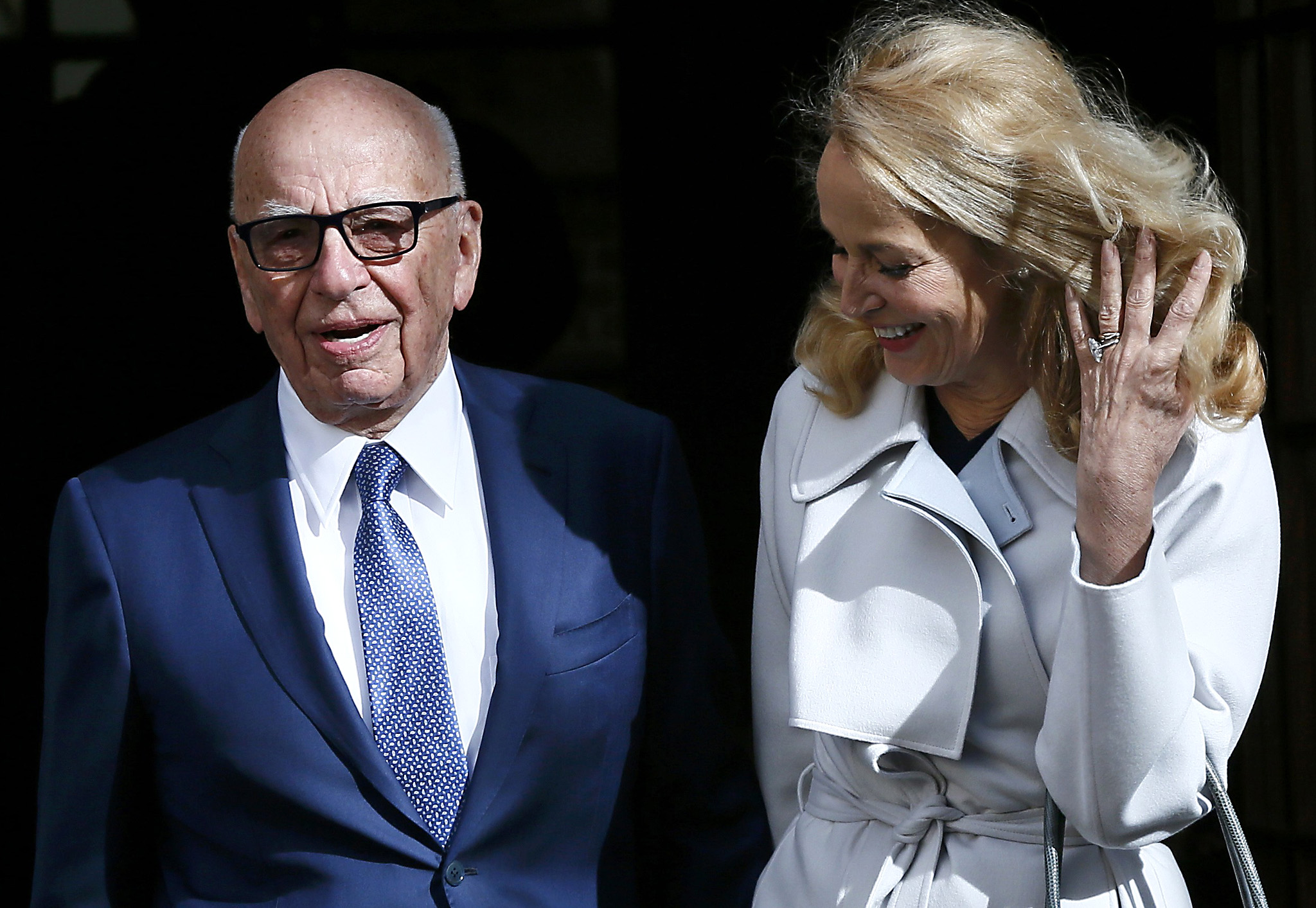 Media mogul Rupert Murdoch and Jerry Hall pose for a photograph in London...Media mogul Rupert Murdoch and Jerry Hall pose for a photograph in London, Britain March 4, 2016. REUTERS/Stefan Wermuth
