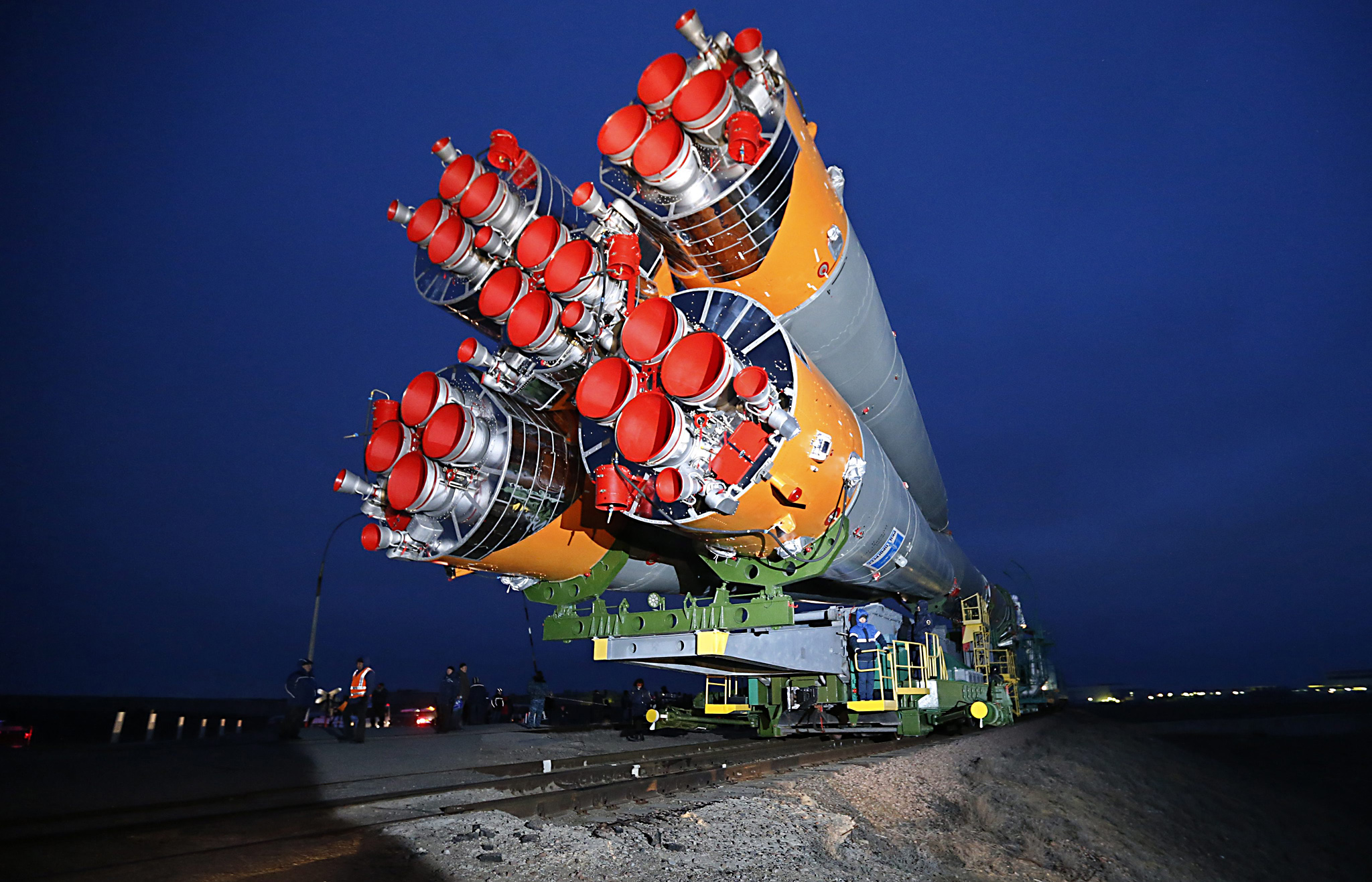Russian Soyuz TMA-20M rocket booster is moved for installation ahead of launch...epa05213713 Russian Soyuz TMA-20M rocket booster is moved for installation at the launch pad at Baikonur cosmodrome in Kazakhstan, 16 March 2016. The crew is set to take off from Kazakhstan's Baikonur cosmodrome to the International Space Station (ISS) on 19 March 2016.  EPA/YURI KOCHETKOV