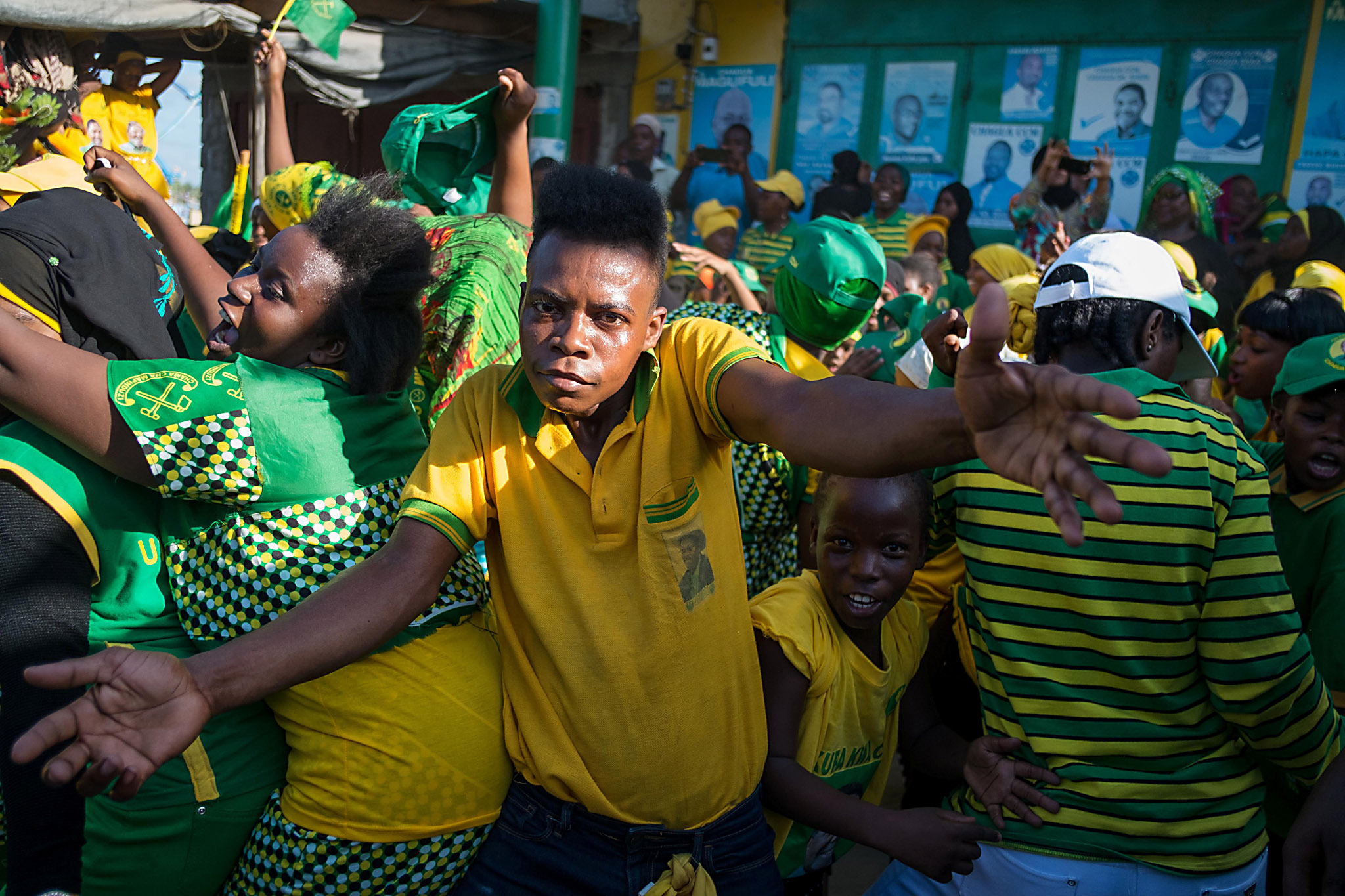 Supporters of ruling party Chama Cha Map...Supporters of ruling party Chama Cha Mapinduzi (CCM - Party of the Revolution) celebrate in the streets in Stone Town, Zanzibar on March 21, 2016, after the Zanzibar Electoral Commission announced that incumbent President Ali Mohamed Shein has won with over 90 percent the election re-run.    Election officials in Zanzibar on March 21 declared incumbent President Ali Mohamed Shein the winner of a weekend poll in Tanzania's semi-autonomous islands. Shein, of the ruling Chama Cha Mapinduzi (CCM) party, welcomed the announcement, a day after the presidential and legislative vote which was boycotted by the opposition.  / AFP PHOTO / DANIEL HAYDUKDANIEL HAYDUK/AFP/Getty Images