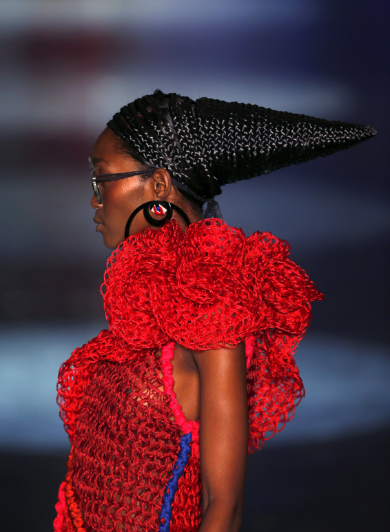A model presents a creation from the Ronaldo Fraga collection during Sao Paulo Fashion Week show in Sao Paulo...A model presents a creation from the Ronaldo Fraga collection during Sao Paulo Fashion Week show in Sao Paulo, Brazil,