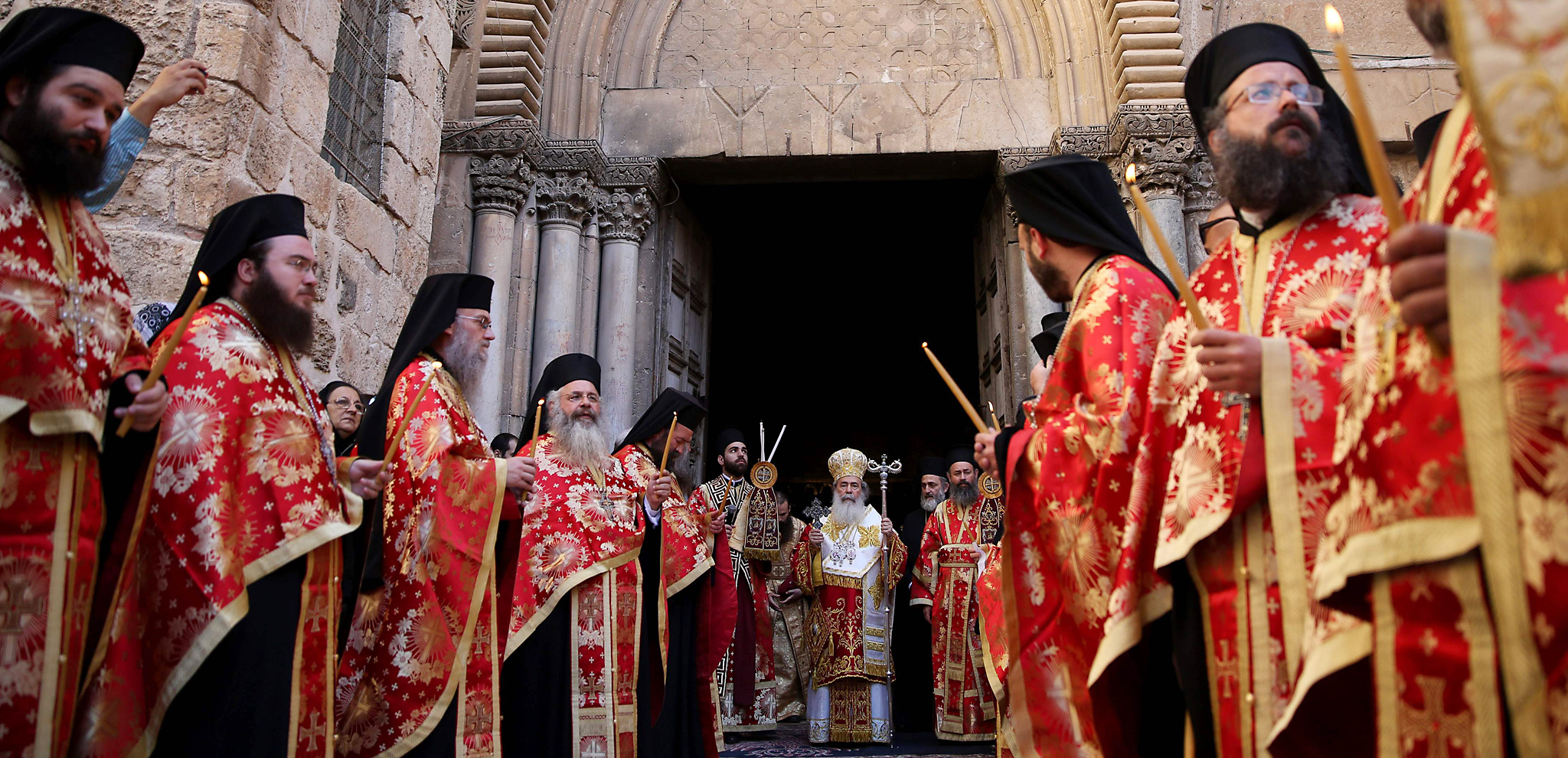 Greek Orthodox Patriarch of Jerusalem Th...Greek Orthodox Patriarch of Jerusalem Theophilos III leads the Washing of the Feet ceremony in front of the Church of the Holy Sepulchre in Jerusalem's Old City on April 28, 2016 as part of the Orthodox Easter celebrations. / AFP PHOTO / GALI TIBBONGALI TIBBOGreek Orthodox Patriarch of Jerusalem Th...Greek Orthodox Patriarch of Jerusalem Theophilos III leads the Washing of the Feet ceremony in front of the Church of the Holy Sepulchre in Jerusalem's Old City on April 28, 2016 as part of the Orthodox Easter celebrations. / AFP PHOTO / GALI TIBBONGALI TIBBON/AFP/Getty ImagesN/AFP/Getty Images