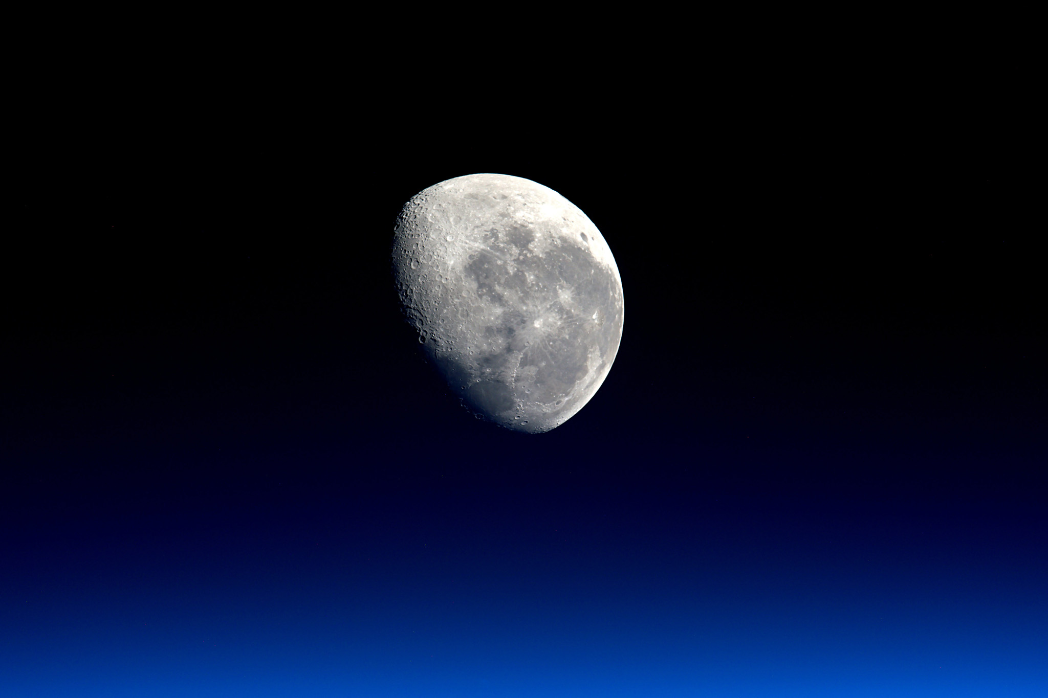 Expedition 47 Flight Engineer Tim Peake ...Expedition 47 Flight Engineer Tim Peake of the European Space Agency took this striking photograph of the moon from his vantage point aboard the International Space Station on March 28, 2016. / AFP PHOTO / ESA/NASA / HandoutHANDOUT/AFP/Getty Images