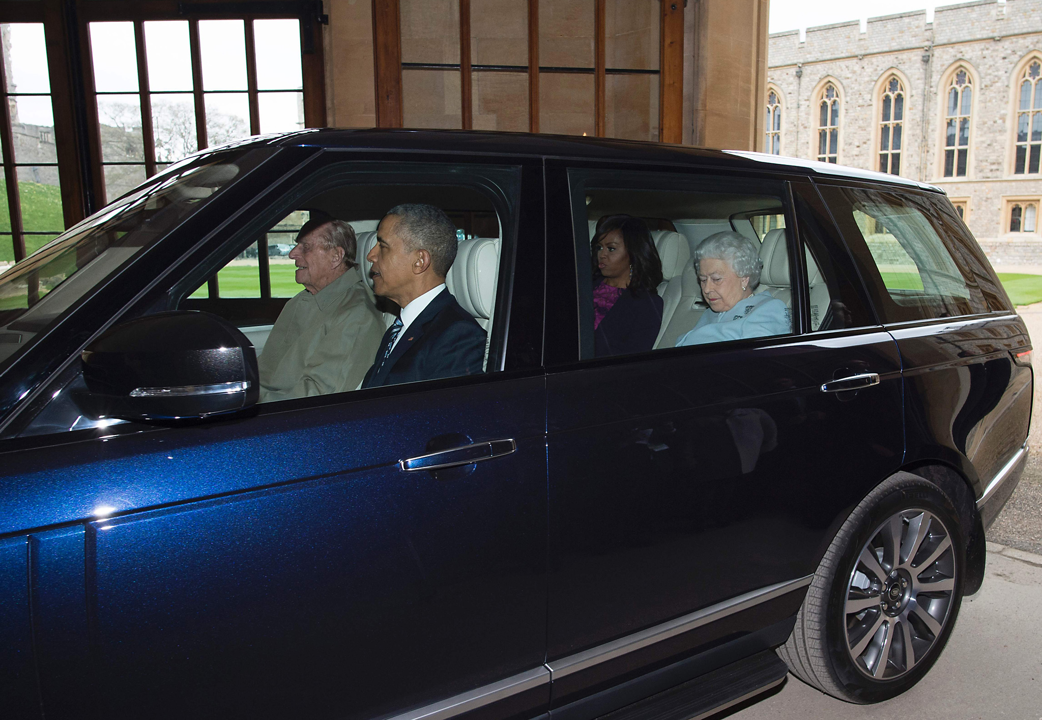 Britain's Prince Philip, Duke of Edinbur...Britain's Prince Philip, Duke of Edinburgh (L) drives US President Barack Obama (2L), US First Lady Michelle Obama (2R) and Britain's Queen Elizabeth II (R) from the helicopter into Windsor Castle after the Obama's arrived for a private lunch in Windsor, southern England, on April, 22, 2016.  / AFP PHOTO / POOL / GEOFF PUGHGEOFF PUGH/AFP/Getty Images