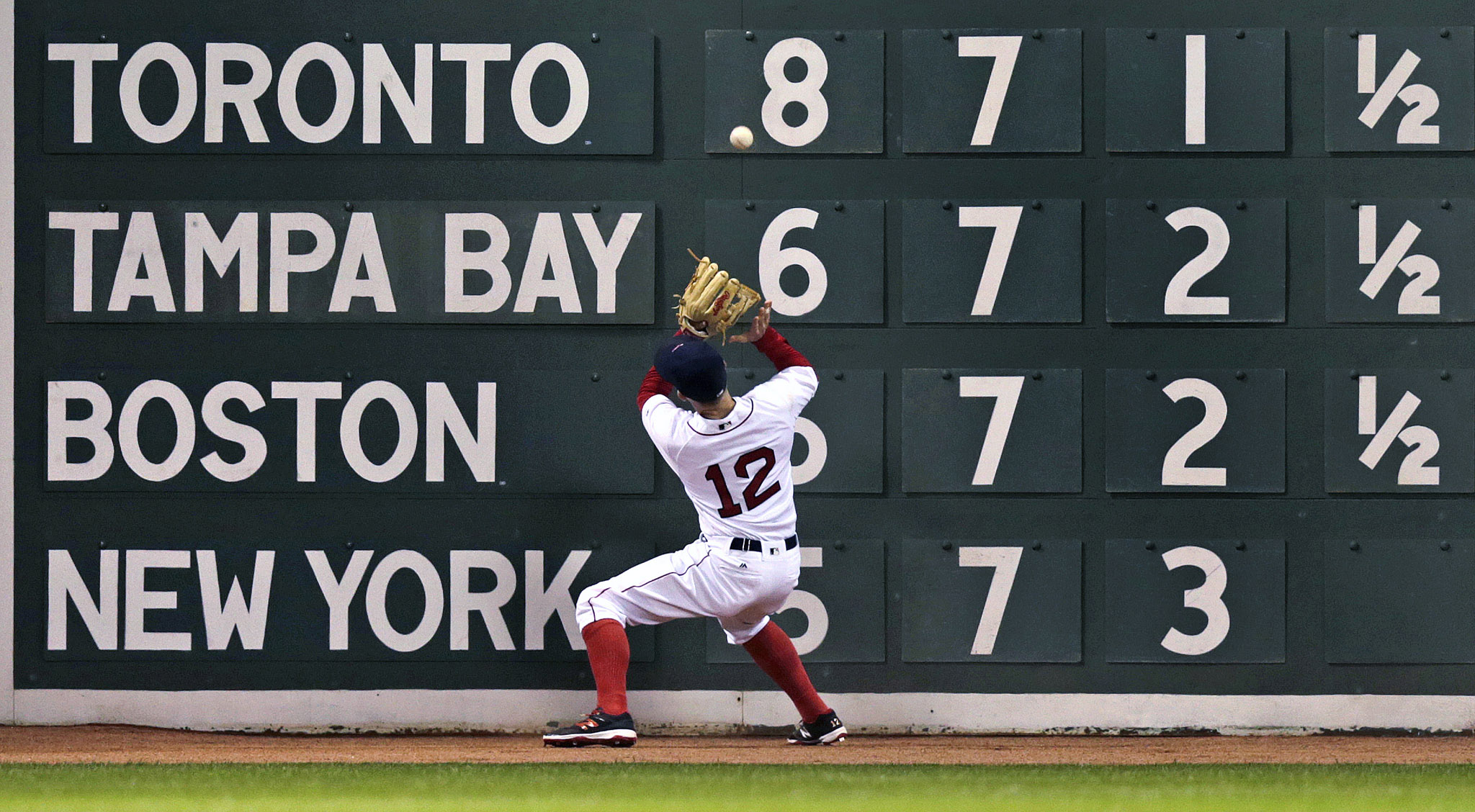 Brock Holt...Boston Red Sox left fielder Brock Holt (12) plays a double by Tampa Bay Rays designated hitter Corey Dickerson off the wall during fourth inning of a baseball game in Boston, Wednesday, April 20, 2016. (AP Photo/Charles Krupa)