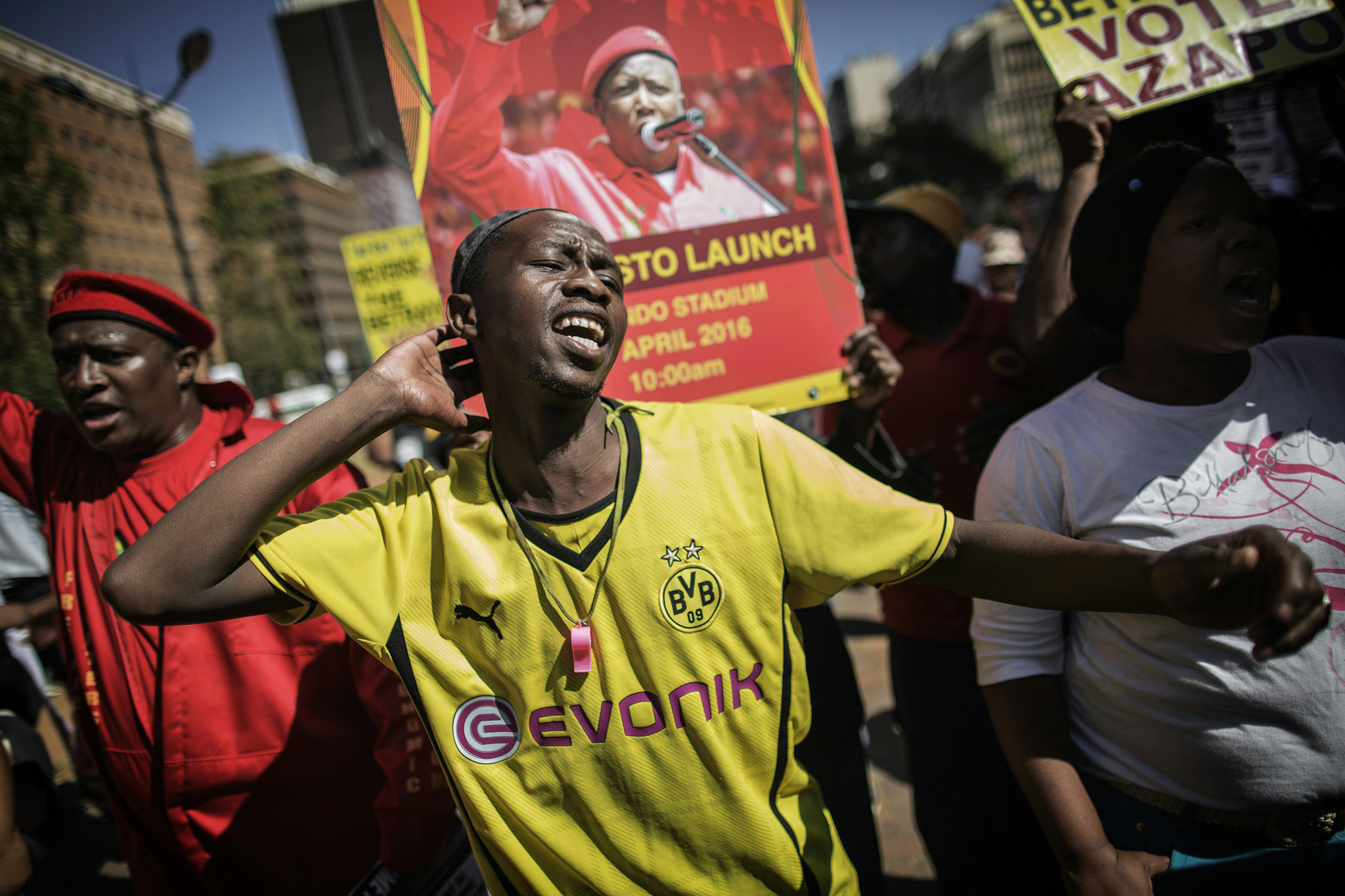 A man shouts slogans against South Afric...A man shouts slogans against South African President Jacob Zuma and the ruling African National Congress (ANC) party during a protest organized by the opposition political parties, Civil Society organizations and Religious group as the nation celebrates Freedom Day in Johannesburg on April 27, 2016. / AFP PHOTO / GIANLUIGI GUERCIAGIANLUIGI GUERCIA/AFP/Getty Images