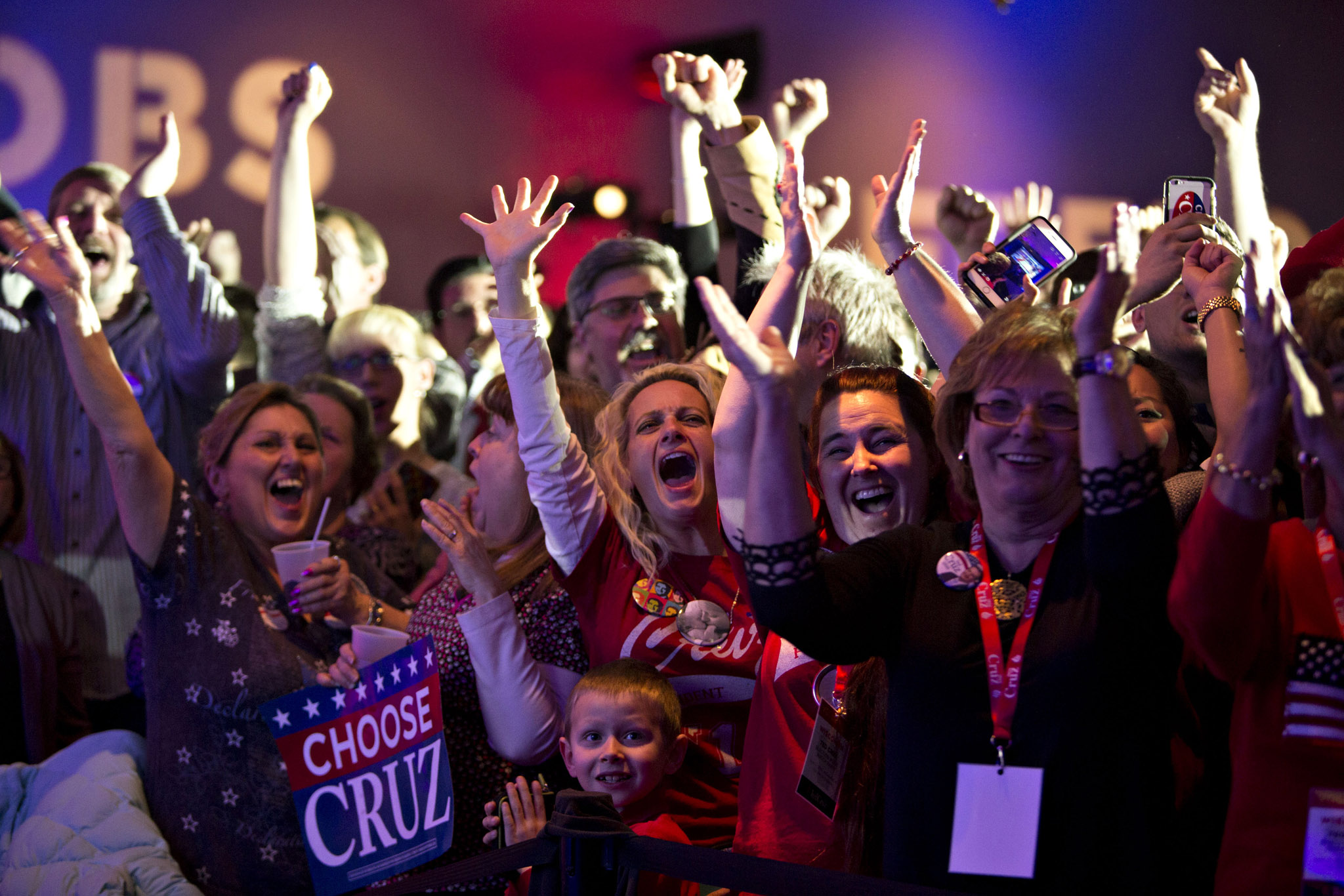 Attendees cheer for Senator Ted Cruz, a Republican from Texas and 2016 presidential candidate, not pictured, during a campaign event in Milwaukee