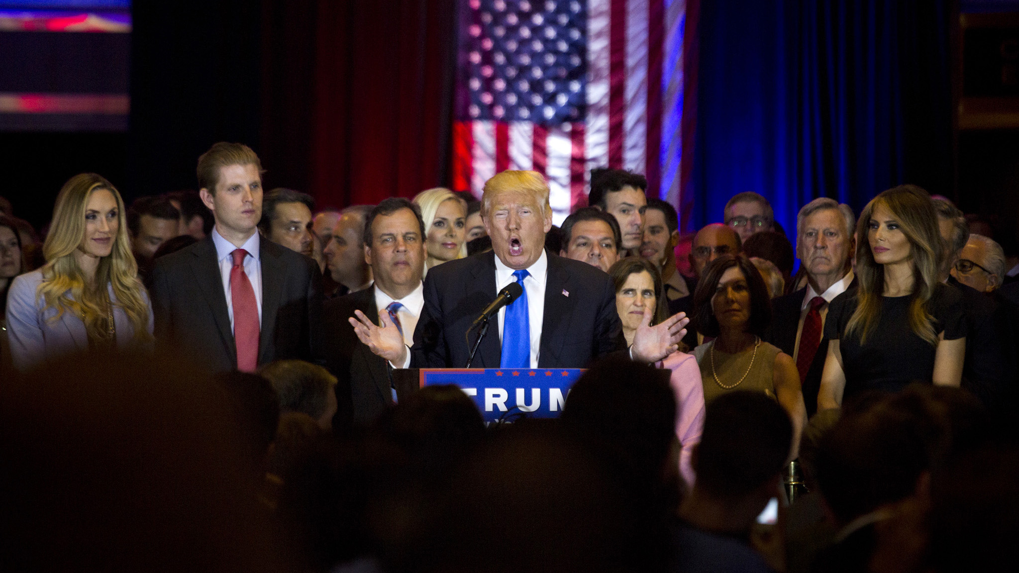 Donald Trump, president and chief executive of Trump Organization Inc. and 2016 Republican presidential candidate, center, speaks during a campaign event in New York