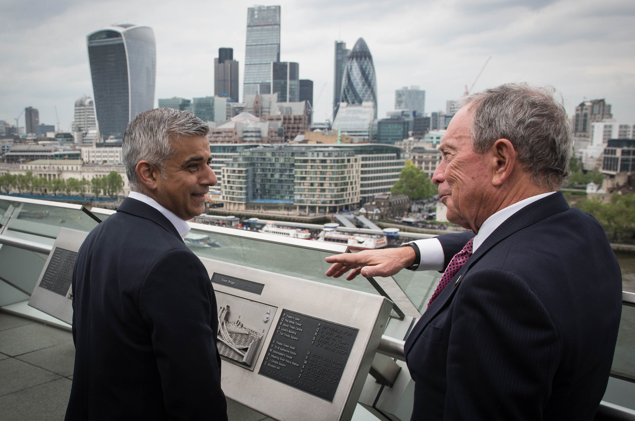 Mayor of London Sadiq Khan (left) meets former mayor of New York Michael Bloomberg at City Hall in London