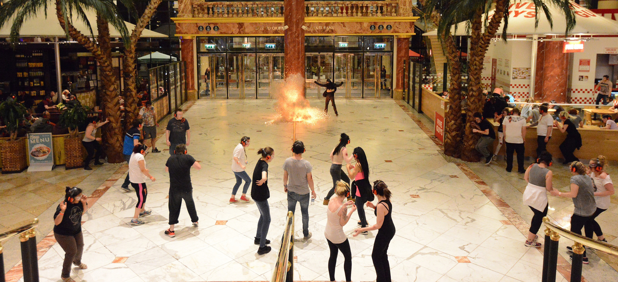 Emergency forces and shoppers take place in a simulated terror attack at the Trafford Centre on 10 May, 2016 in Manchester, England