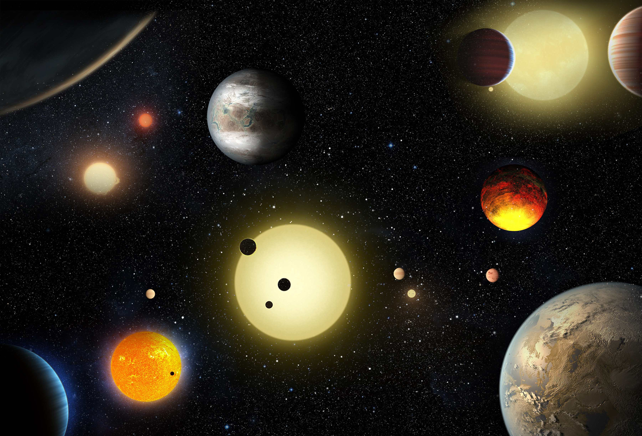 This artist's concept depicts select planetary discoveries made to date by NASA's Kepler space telescope in this image released May 10, 2016.  Courtesy W. Stenzel/NASA/Handout via REUTERS    ATTENTION EDITORS - THIS IMAGE WAS PROVIDED BY A THIRD PARTY. EDITORIAL USE ONLY