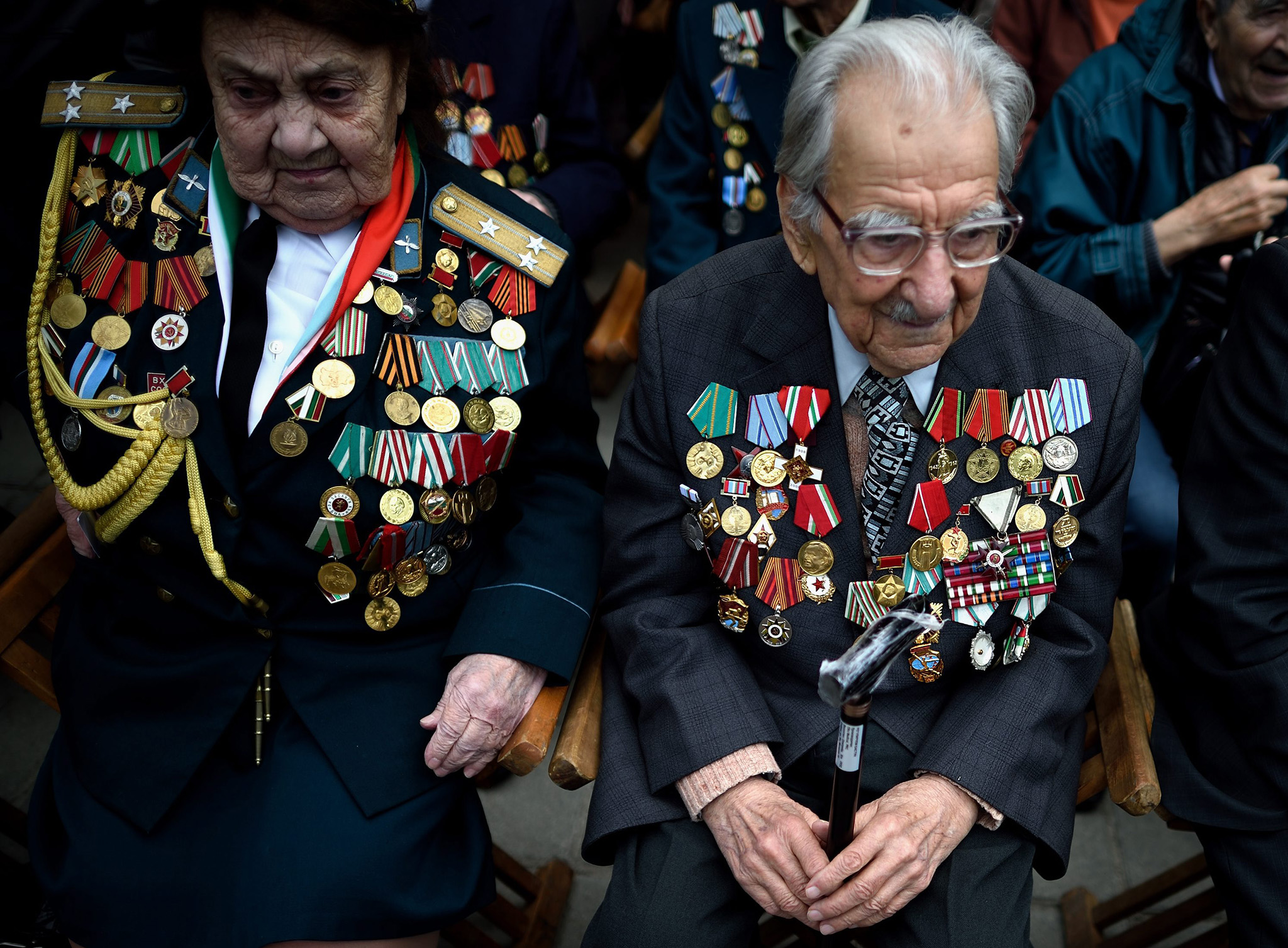 Bulgarian veterans from World War II  attend a military parade at the Alexander Batemberg Square in Sofia, Bulgaria