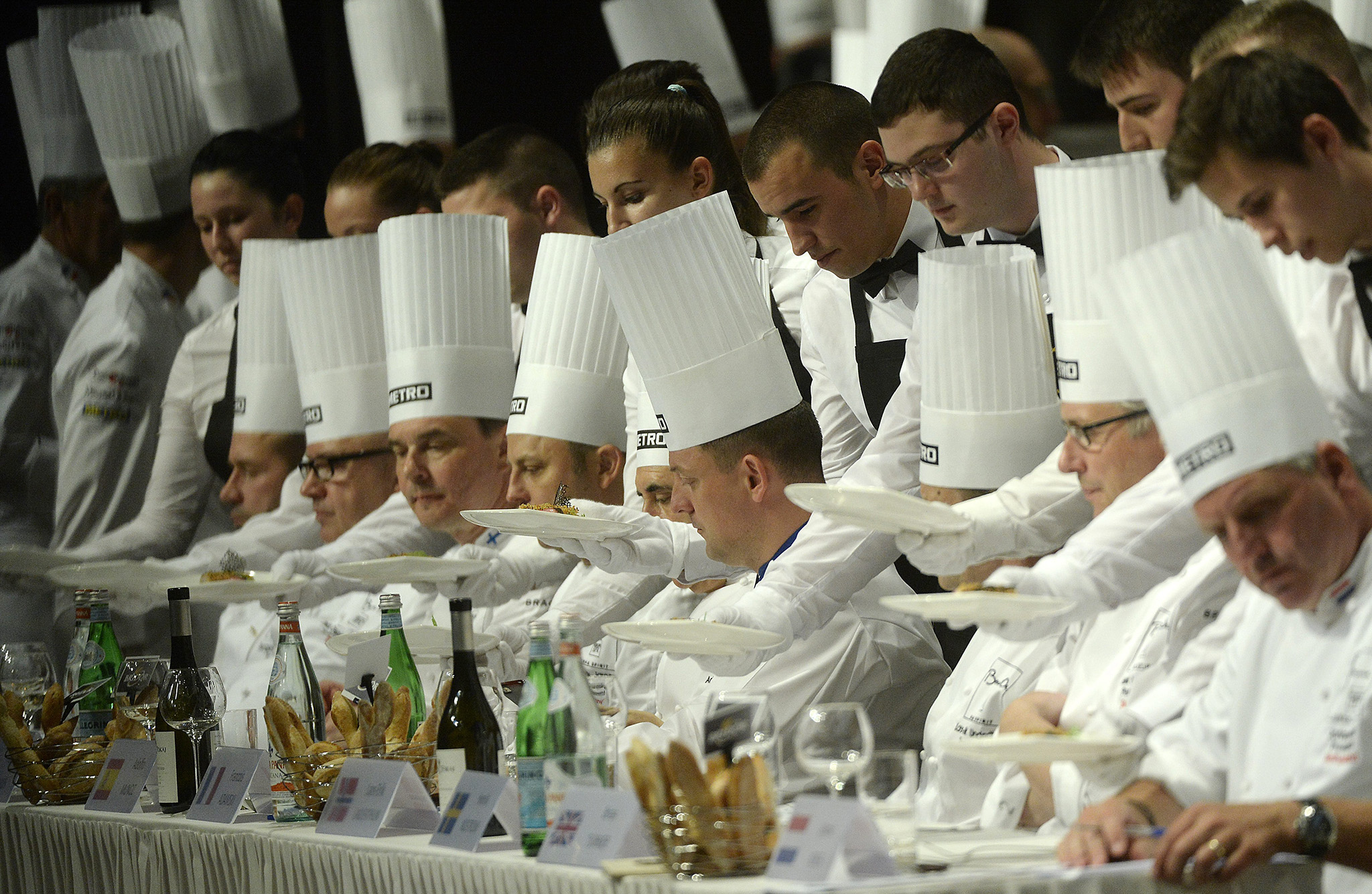 Jury members taste a dish during the European Final of Bocuse d'Or cuisine contest in Budapest, Hungary