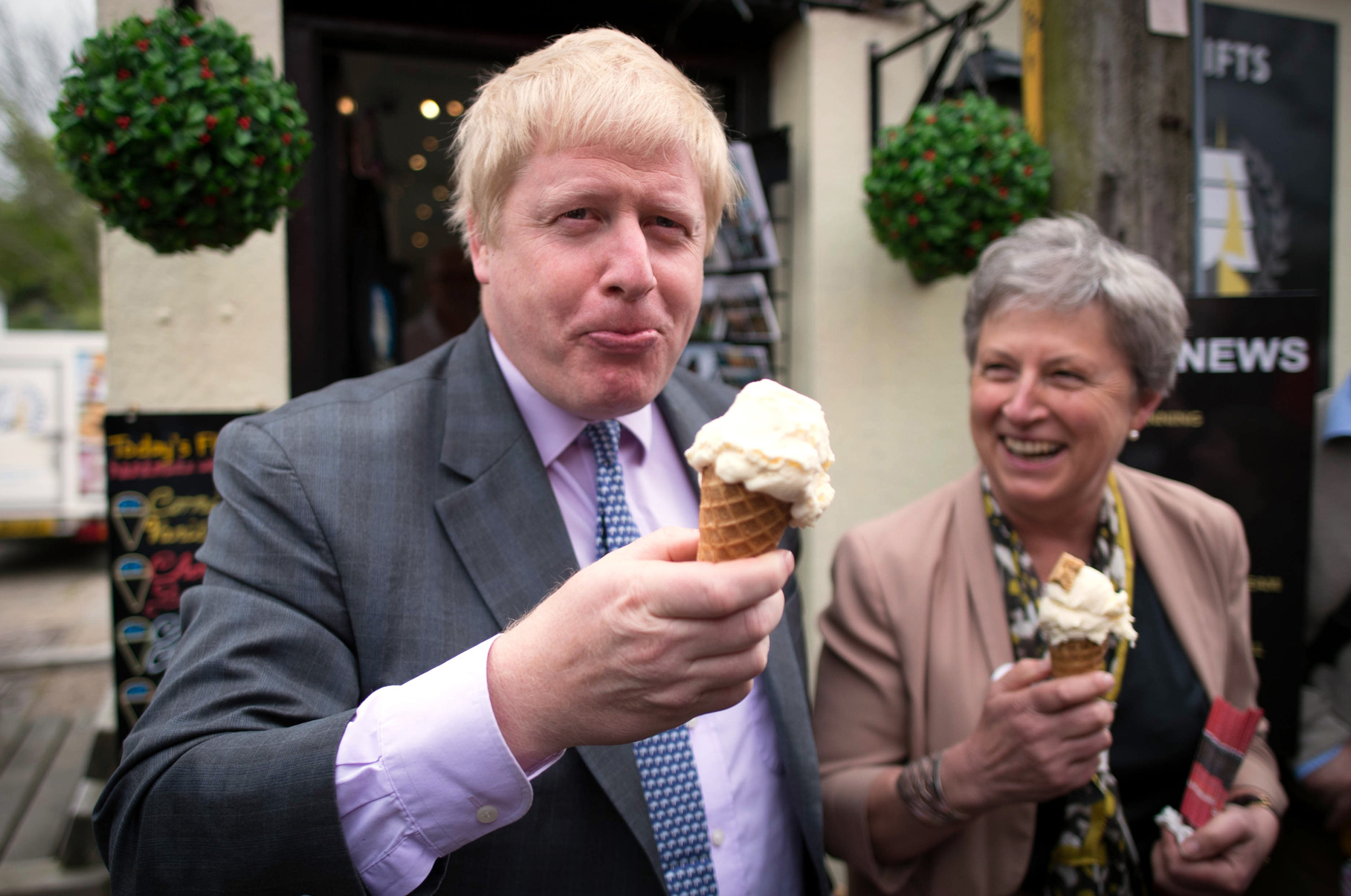 Former Mayor of London Boris Johnson and fellow Vote Leave campaigner Gisela Stuart MP enjoy an ice cream while in Charlestown, Cornwall, during a Vote Leave campaign visit