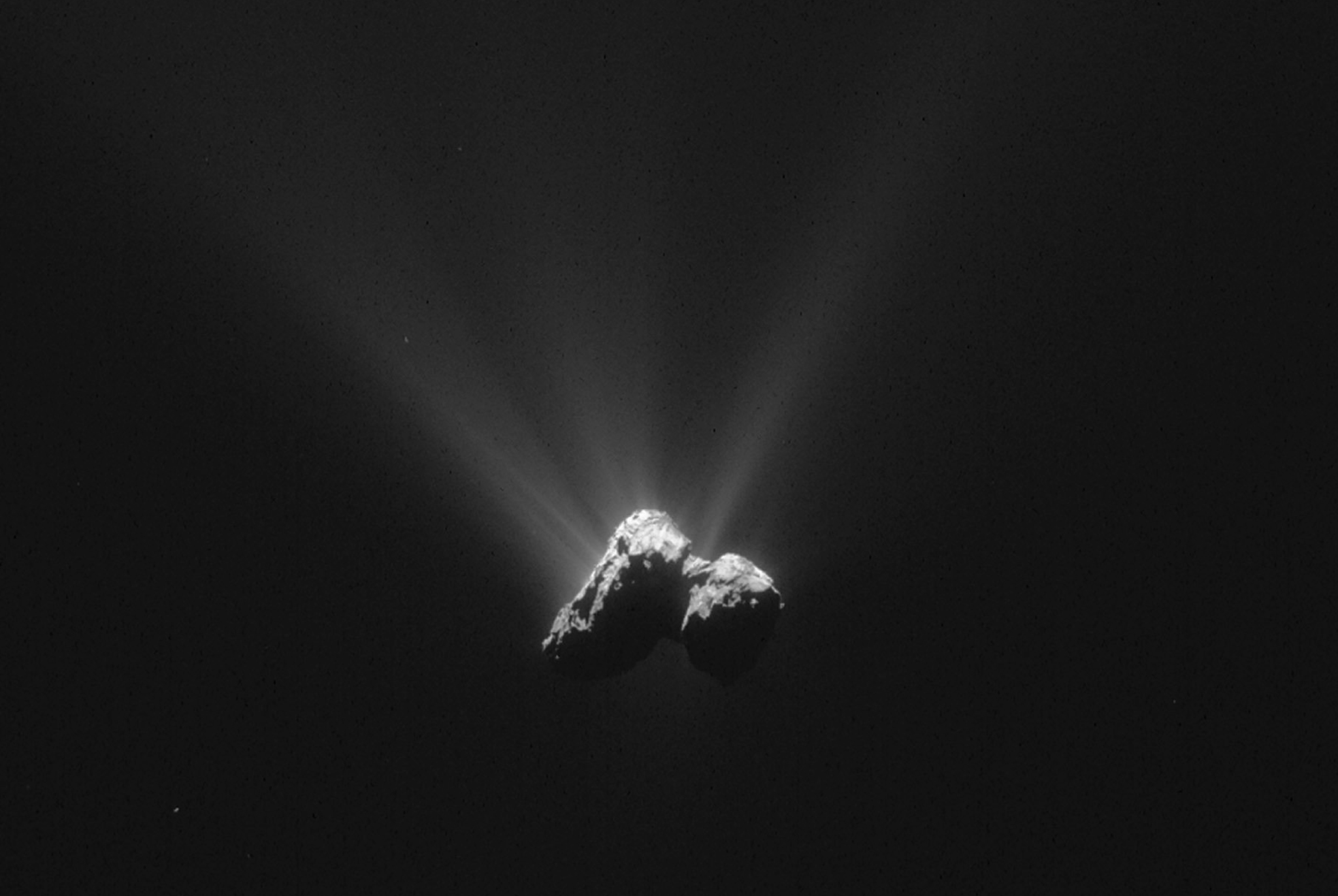 Embargoed to 1900 Friday May 27  European Space Agency handout image of Comet 67P/Churyumov-Gerasimenko, taken by the Rosetta orbiter in August 2015 when the object was at its closest point to the sun. Rosetta found evidence of basic building blocks of life in gases surrounding the comet. PRESS ASSOCIATION Photo. Issue date: Friday May 27, 2016. See PA story SCIENCE Rosetta. Photo credit should read: ESA/Rosetta/Navcam/PA Wire  NOTE TO EDITORS: This handout photo may only be used in for editorial reporting purposes for the contemporaneous illustration of events, things or the people in the image or facts mentioned in the caption. Reuse of the picture may require further permission from the copyright holder.